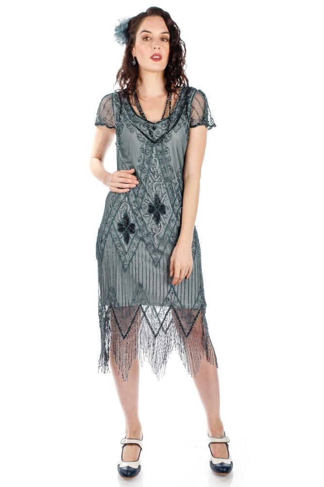 1920s Evening Dresses & Formal Gowns Flapper Style Fringe Party Dress in Blue Grey $145.00 AT vintagedancer.com