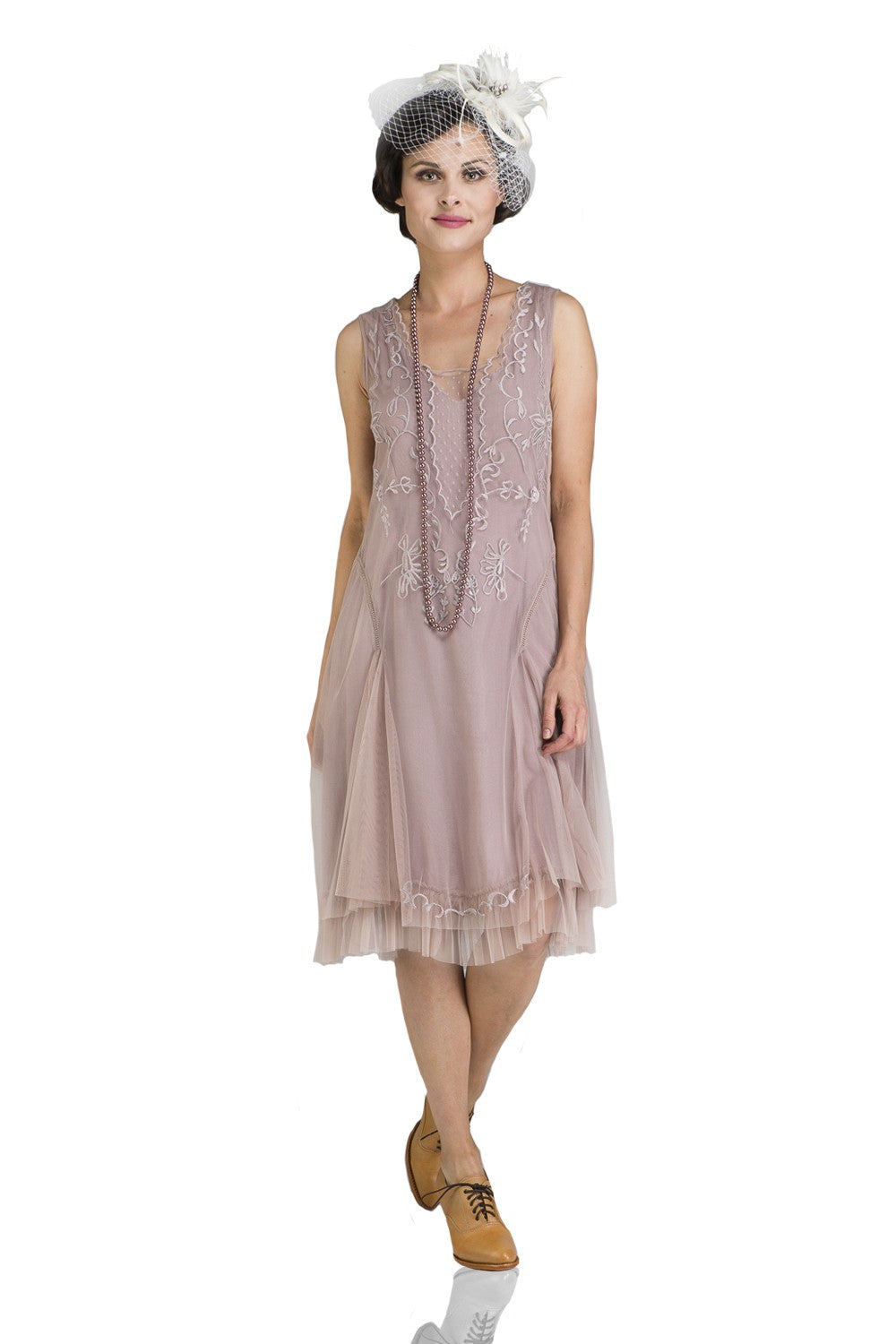 1920s Afternoon Dresses, White Tea Dresses Tara Vintage Style Party Dress in Amethyst by Nataya $174.00 AT vintagedancer.com