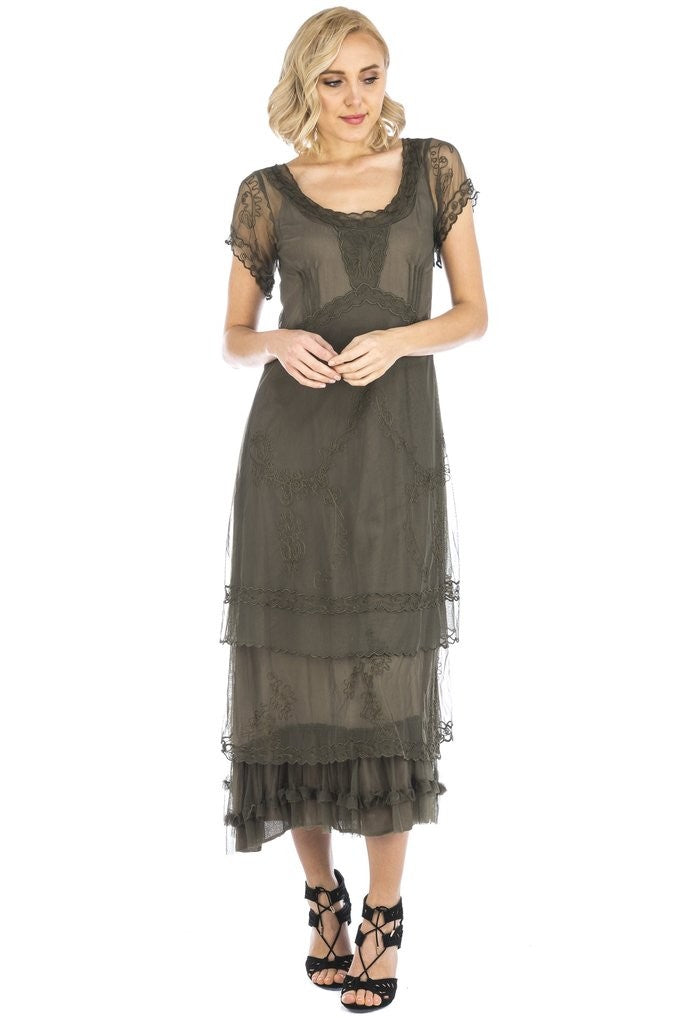 Victorian Dresses, Clothing: Patterns, Costumes, Custom Dresses Arrianna Vintage Style Party Dress in Olive by Nataya $265.00 AT vintagedancer.com