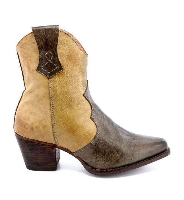 Vintage Western Wear Clothing, Outfit Ideas Baila Leather Ankle Cowgirl Boots in Cashew Rustic $235.00 AT vintagedancer.com