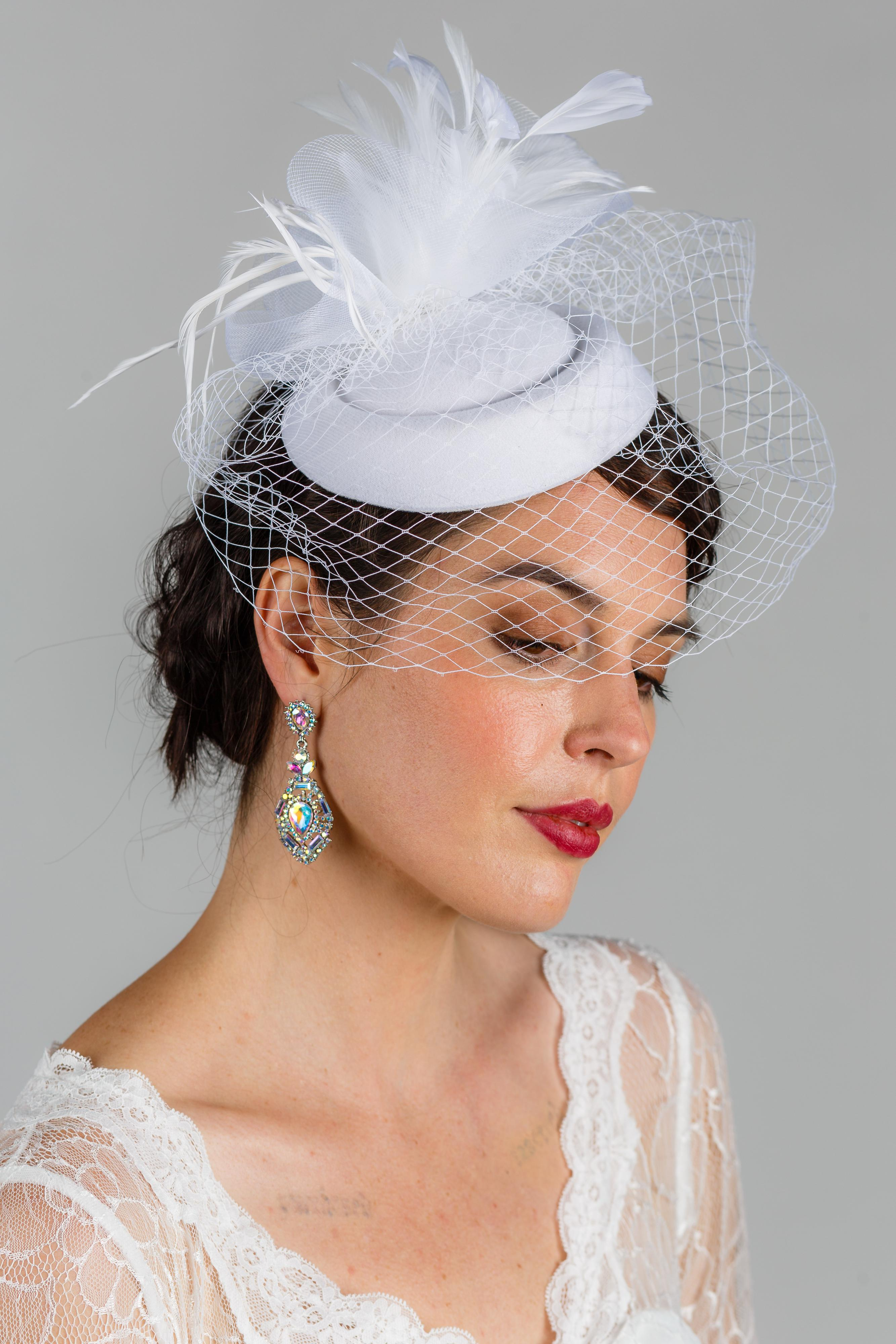 Tea Party Hats – Victorian to 1950s Prim 1940s Veil in White $48.00 AT vintagedancer.com