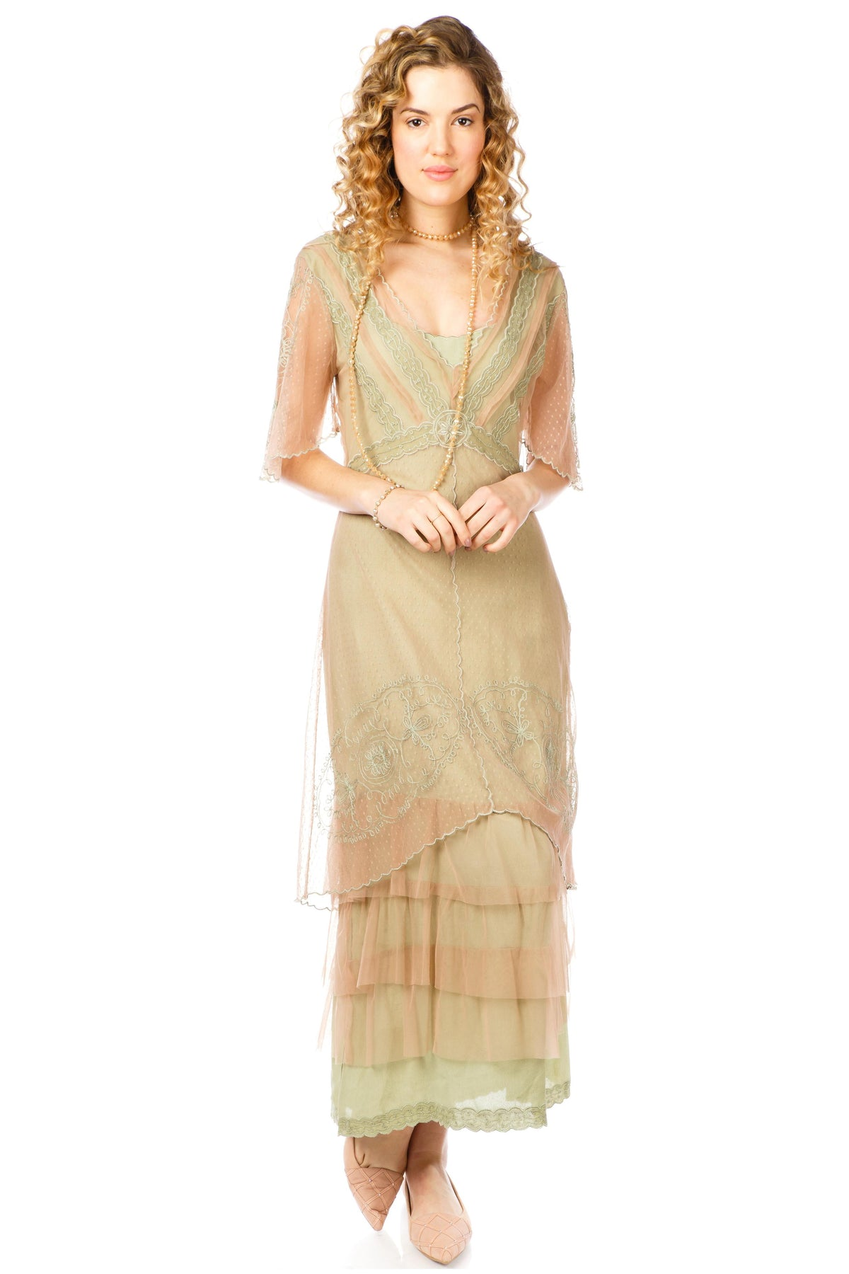 1920s Style Dresses, 20s Dresses Sylvia 1920s Titanic Style Dress in Sage $288.00 AT vintagedancer.com