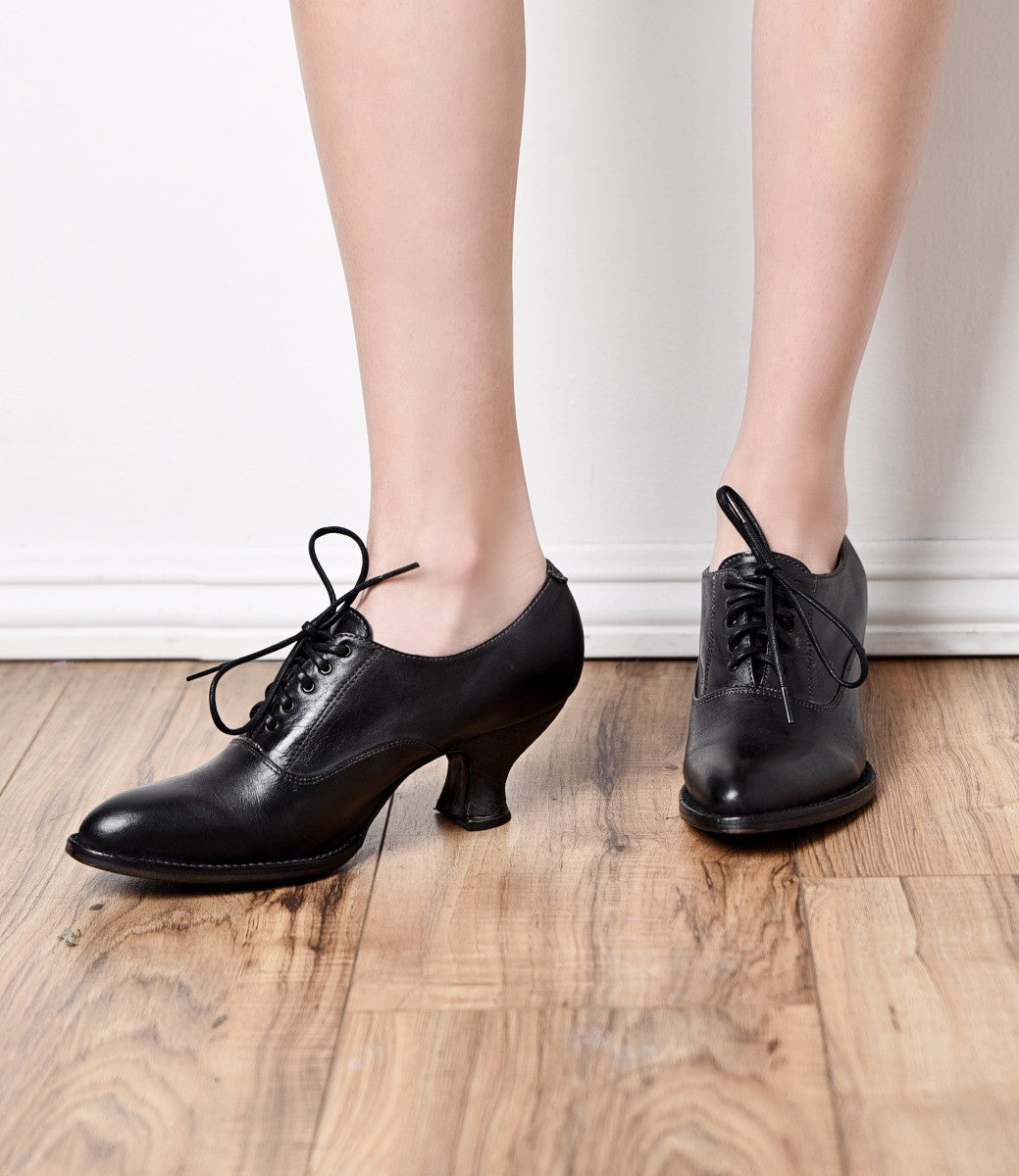 Women's 1920s Shoe Styles and History Victorian Style Leather Lace-Up Black Shoes $195.00 AT vintagedancer.com