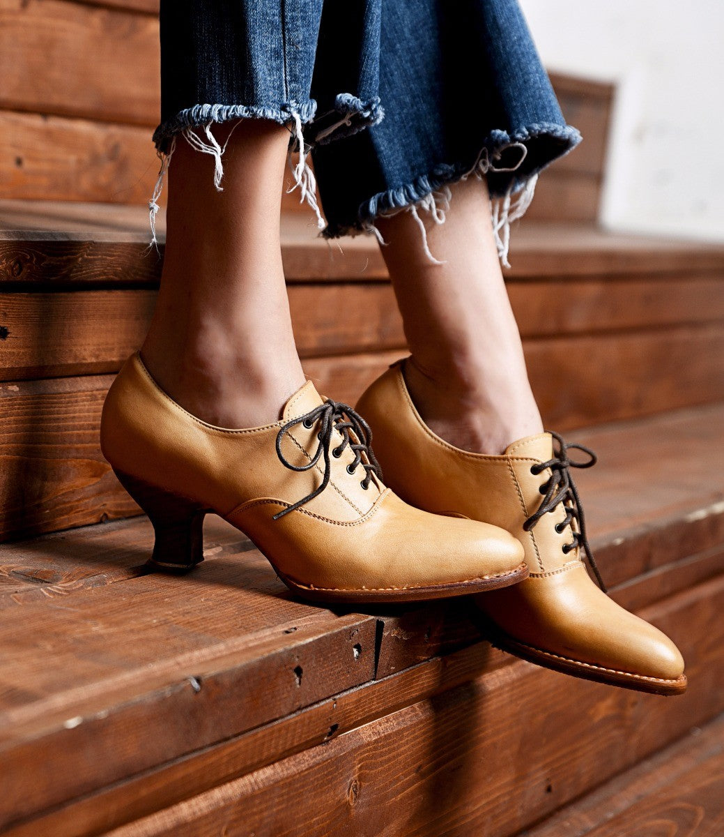 Vintage Shoes, Vintage Style Shoes Victorian Style Leather Lace-Up Shoes in Natural Rustic $195.00 AT vintagedancer.com