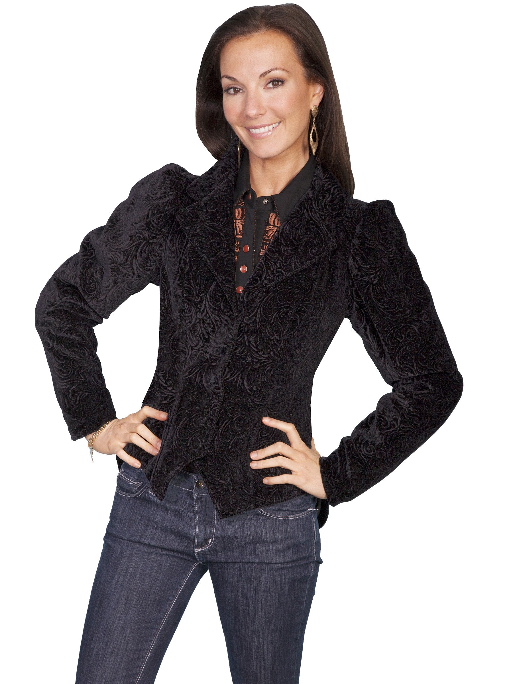 Victorian Clothing, Costumes & 1800s Fashion Western Style Embossed Velvet Coat in Black $224.00 AT vintagedancer.com