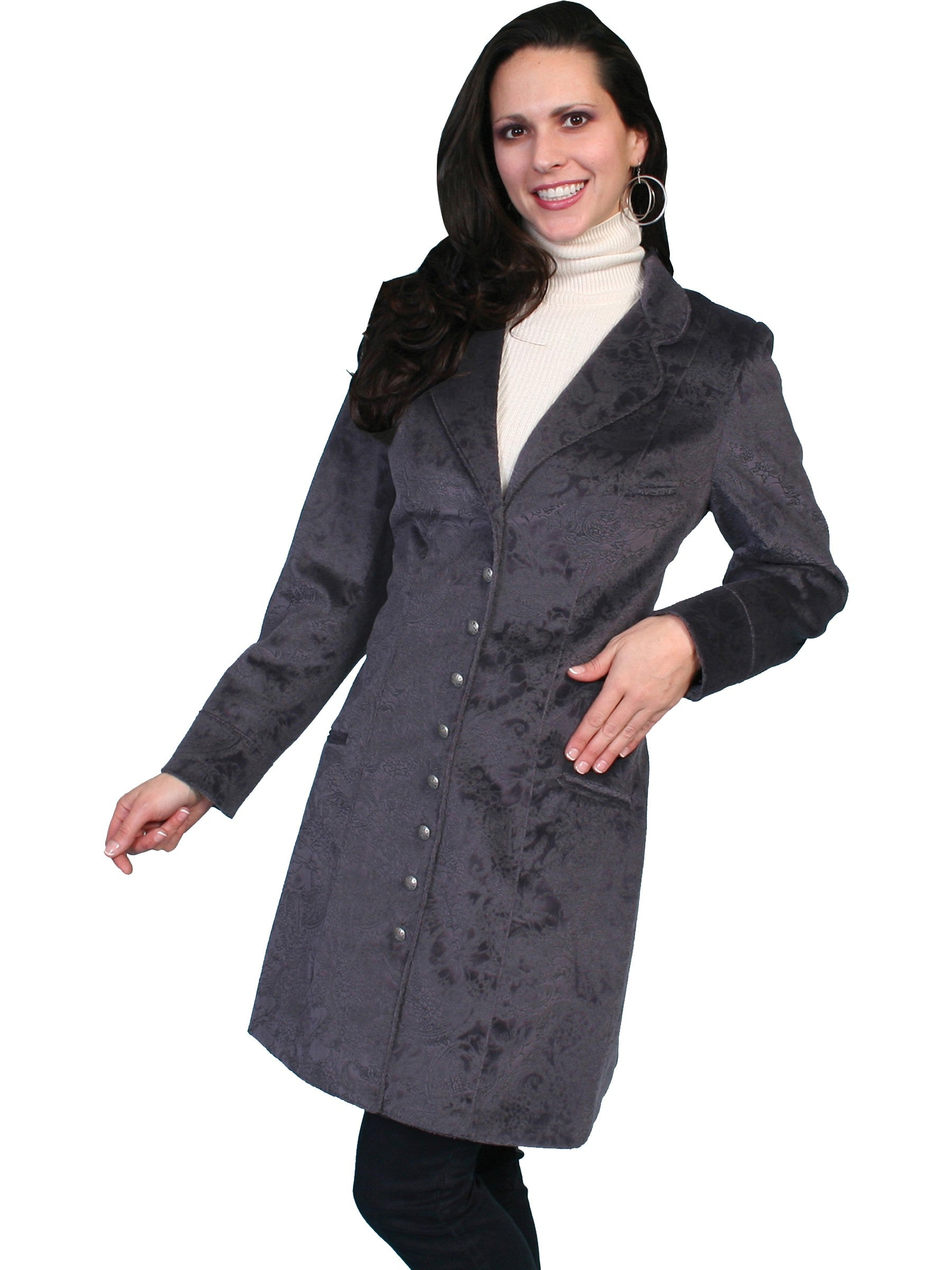 Victorian Clothing, Costumes & 1800s Fashion Western Style Velvet Embossed Frock Coat in Plum $149.00 AT vintagedancer.com