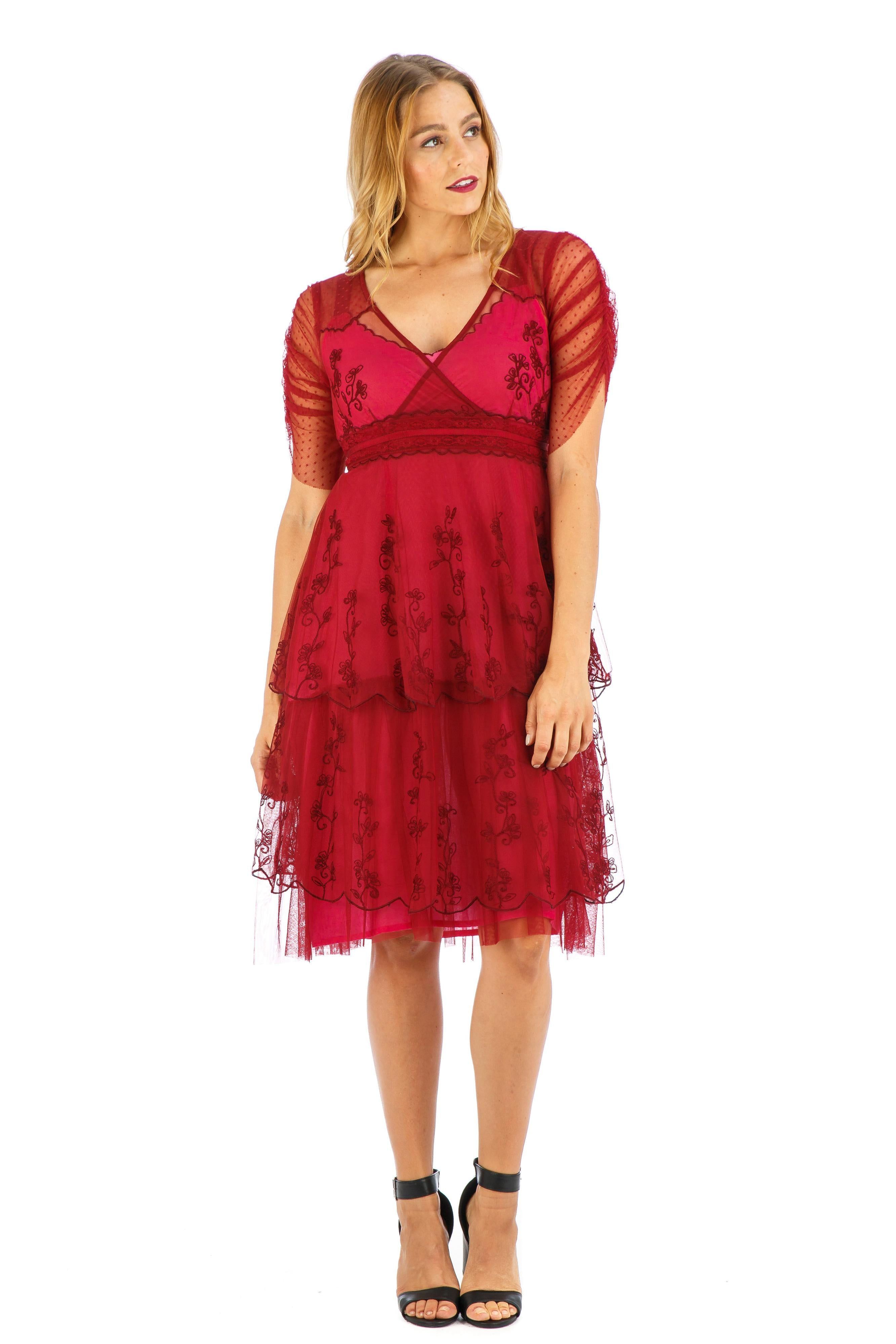 1920s Style Dresses, 20s Dresses Zoey Vintage Style Party Dress in Raspberry by Nataya $192.00 AT vintagedancer.com