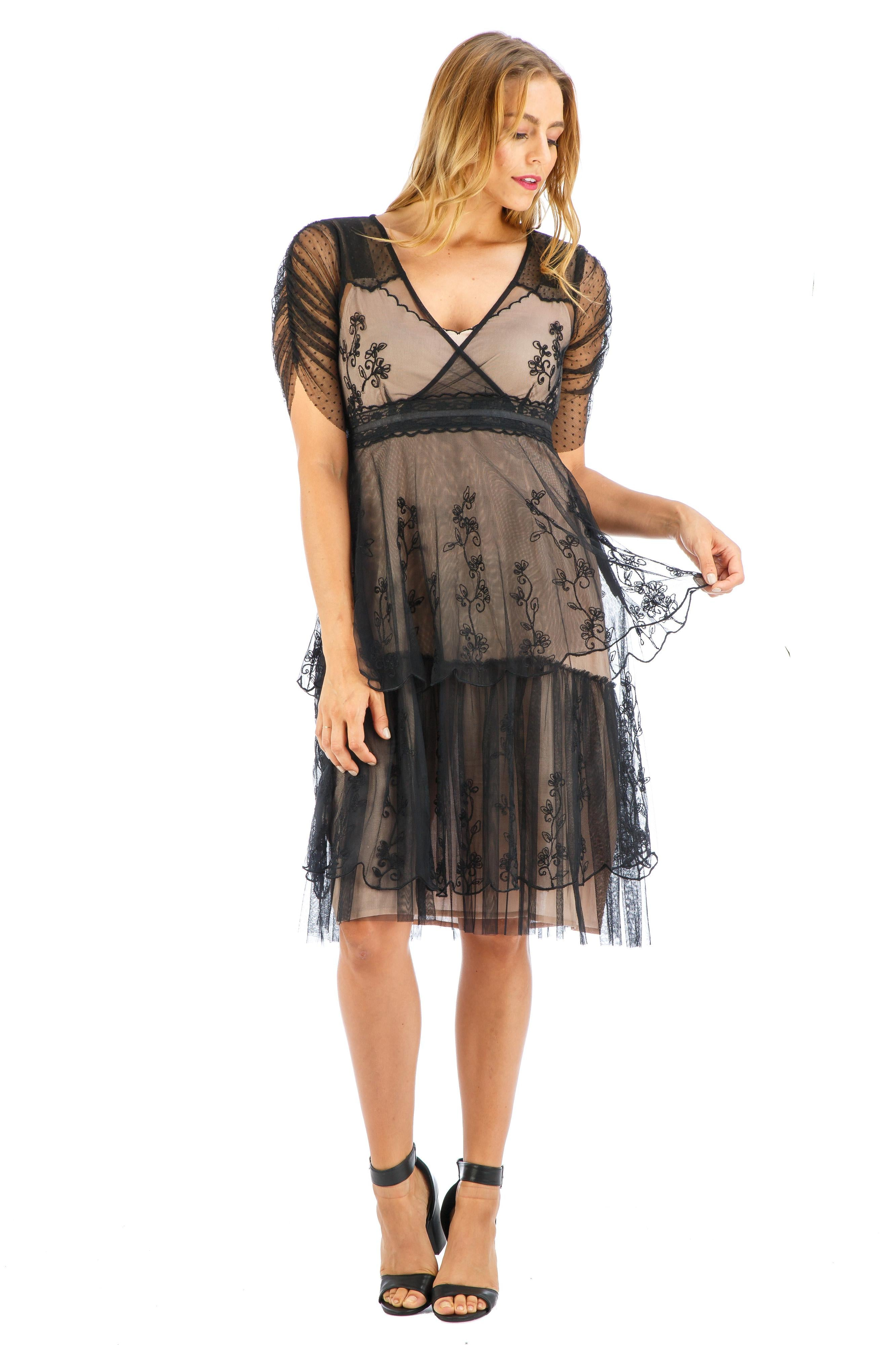 Flapper Dresses & Quality Flapper Costumes Zoey Vintage Style Party Dress in Onyx by Nataya $192.00 AT vintagedancer.com