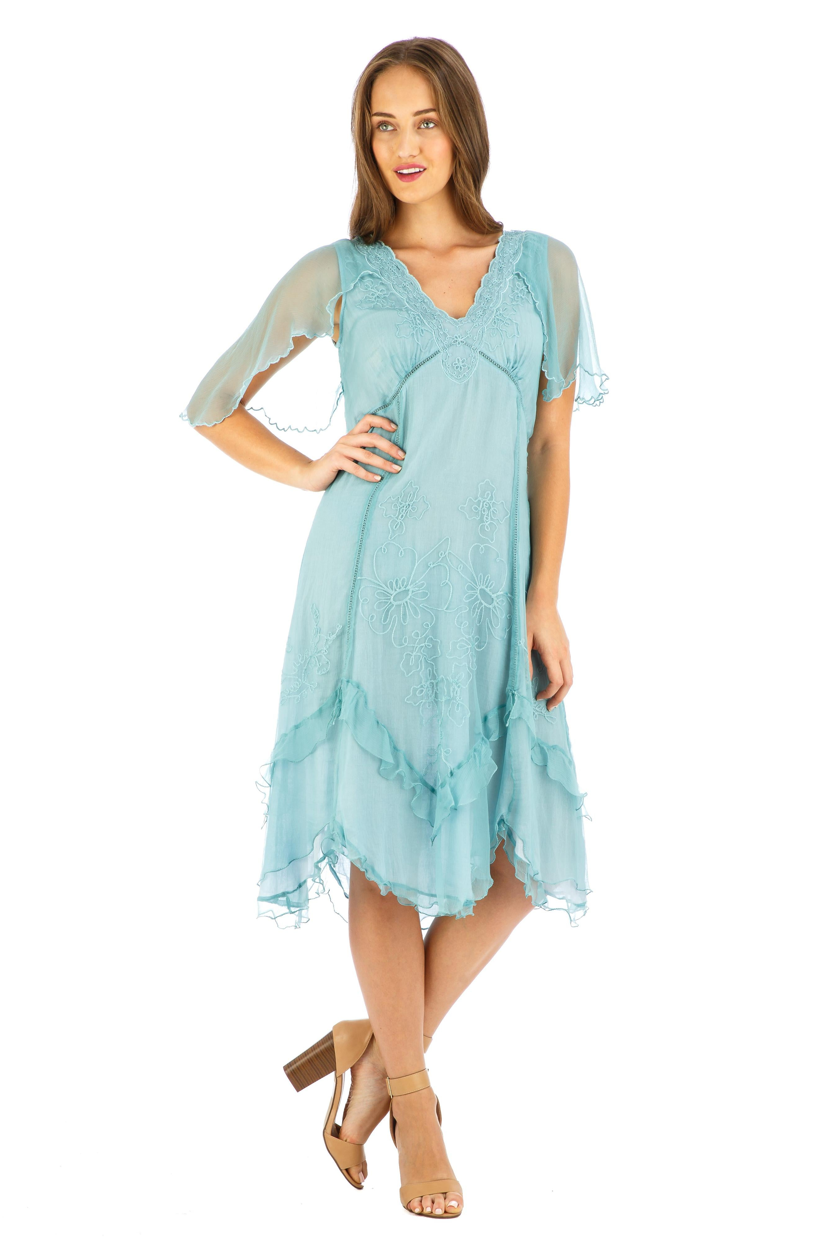 1920s Style Dresses, 20s Dresses Jacqueline Vintage Style Party Dress in Turquoise by Nataya $194.00 AT vintagedancer.com
