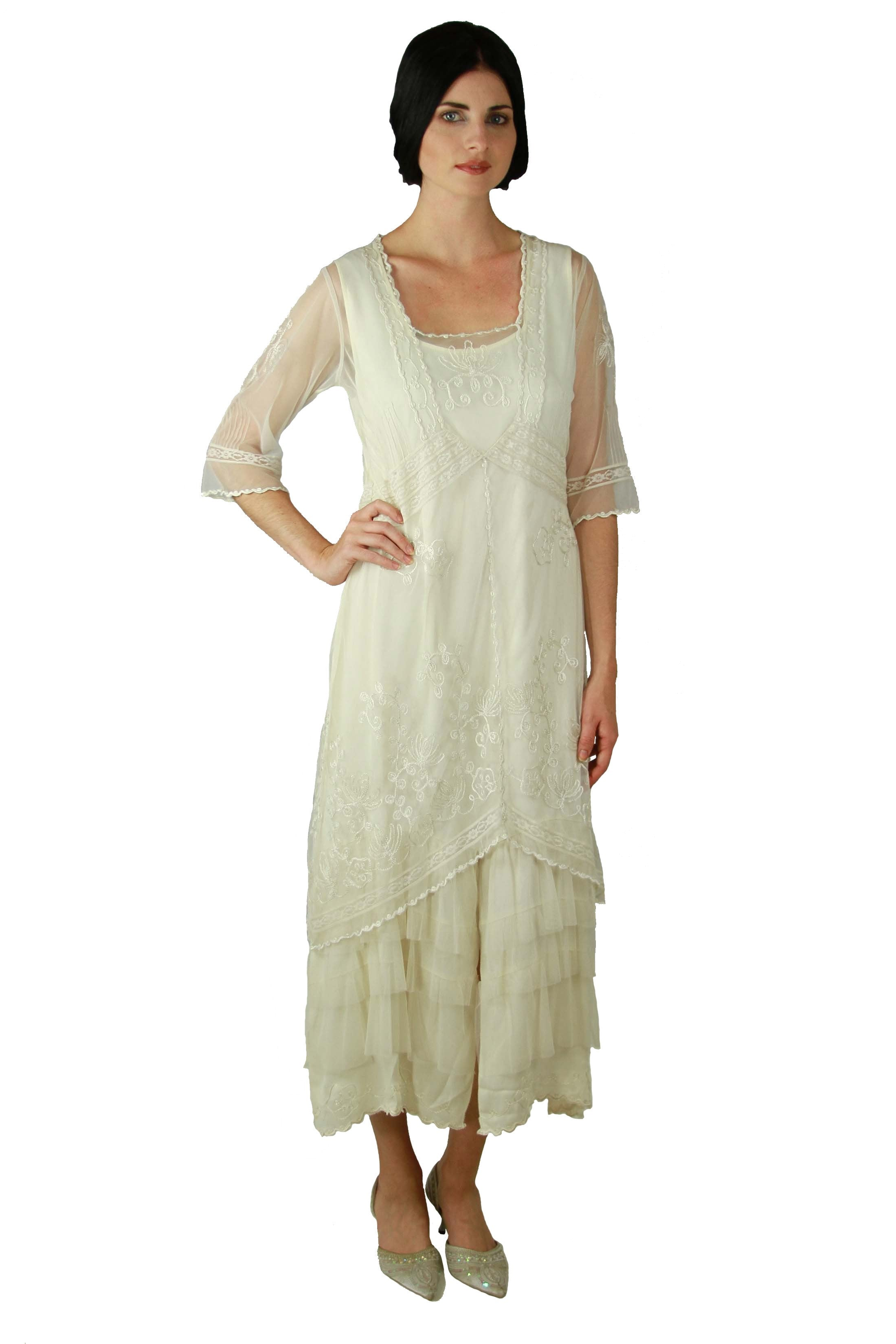 Victorian Wedding Dresses, Shoes, Accessories Titanic Tea Party Dress in Ivory by Nataya $228.00 AT vintagedancer.com