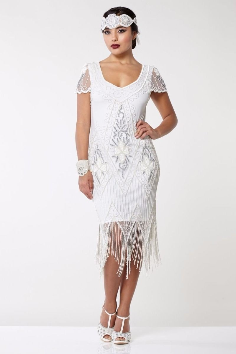 Flapper Style Fringe Party Dress in White Silver
