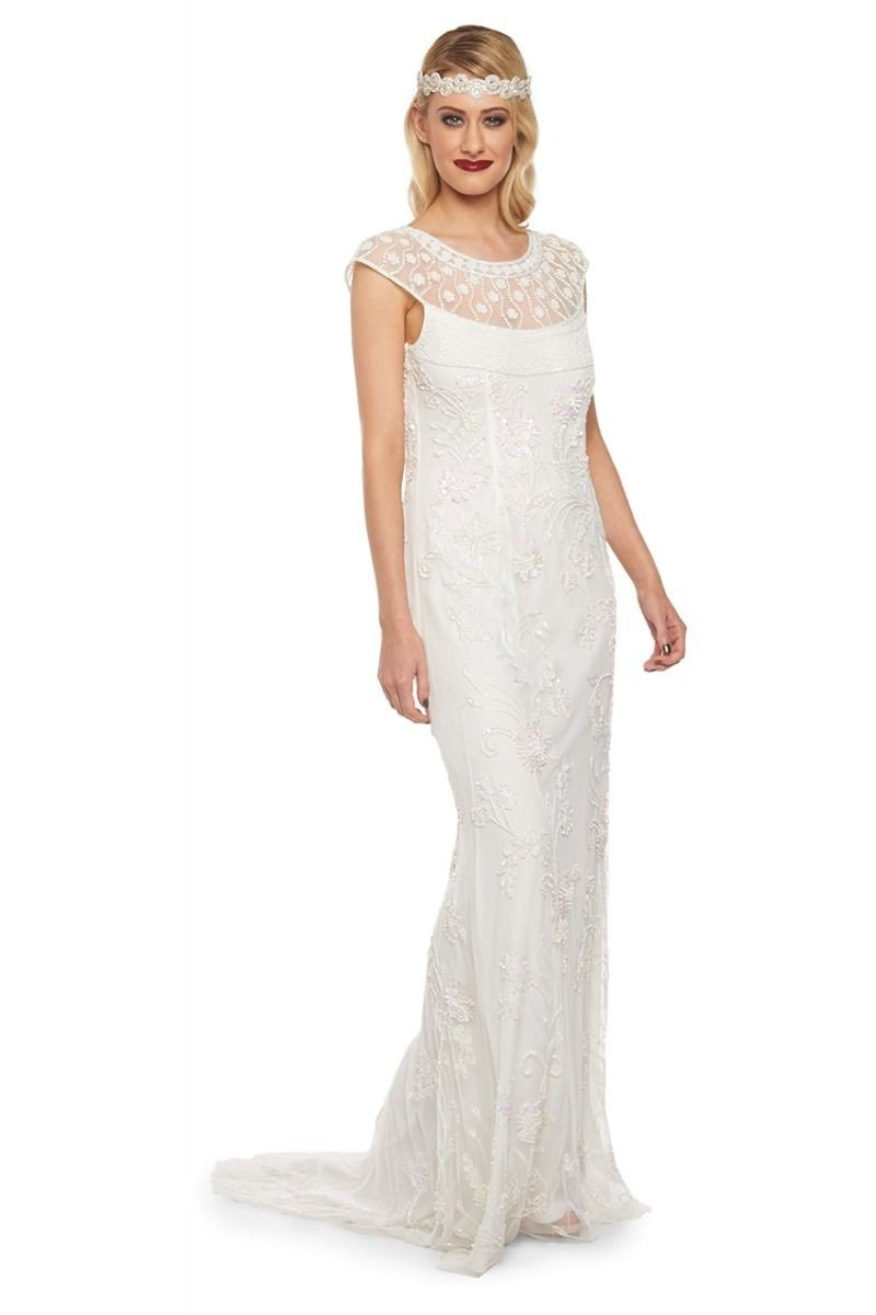 1920s Wedding Dresses- Art Deco Wedding Dress, Gatsby Wedding Dress Art Nouveau Maxi Dress in Off White - SALE $186.00 AT vintagedancer.com