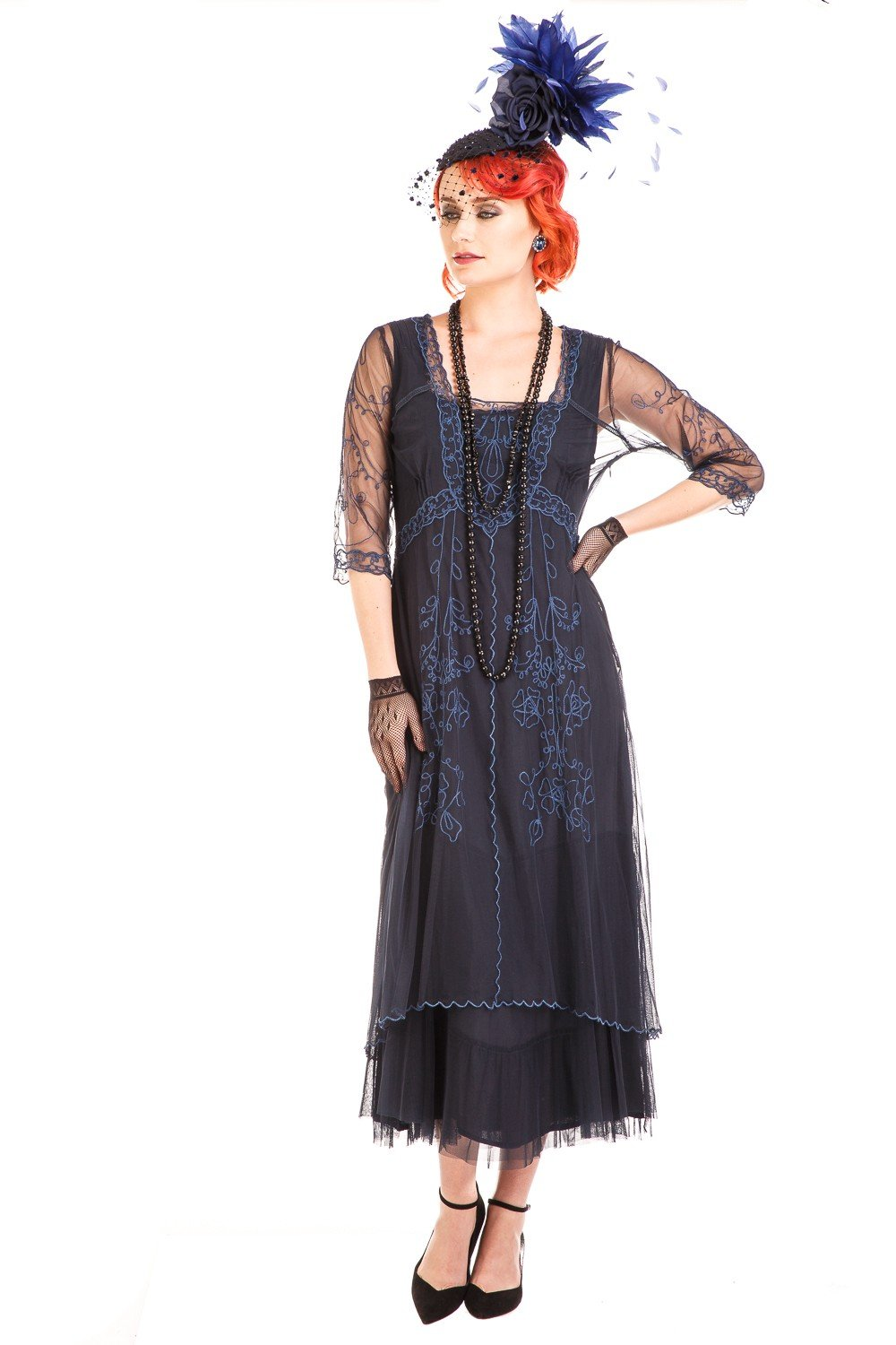 1900 -1910s Edwardian Fashion, Clothing & Costumes Mary Vintage Style Party Dress in Sapphire by Nataya $265.00 AT vintagedancer.com