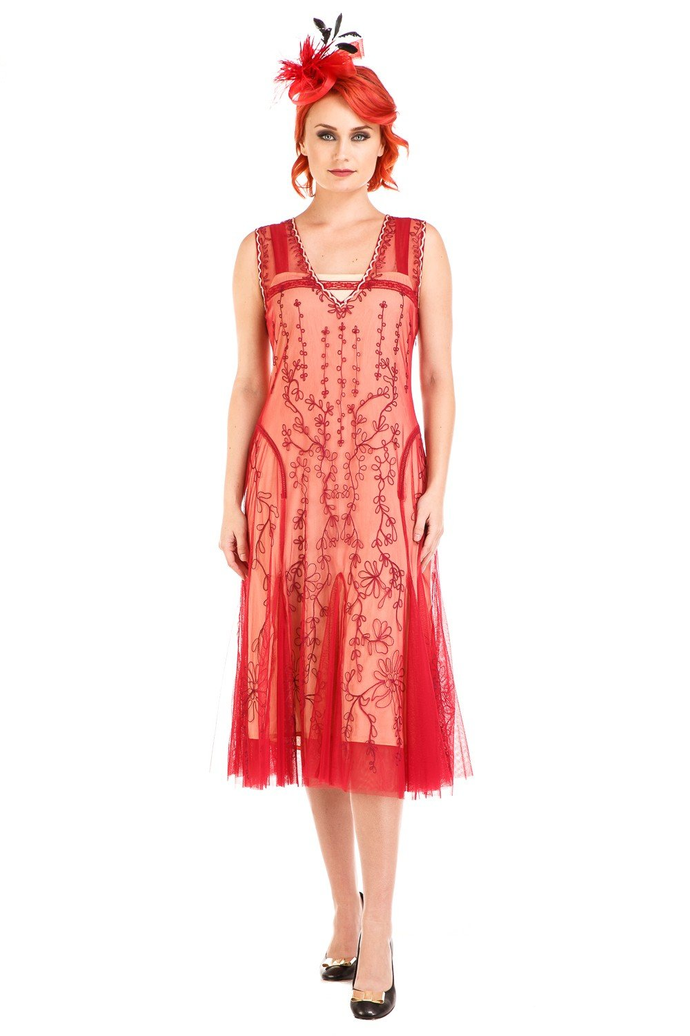 1920s Style Dresses, 20s Dresses Jackie 1920s Flapper Style Dress in Cherry by Nataya $208.00 AT vintagedancer.com