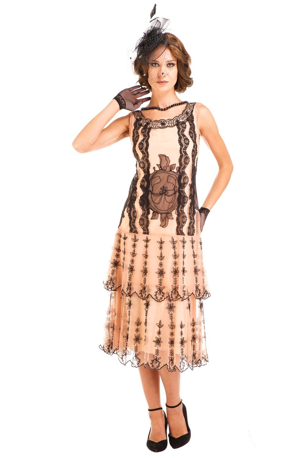 1920s Day Dresses, Tea Dresses, Mature Dresses with Sleeves Eva 1920s Flapper Style Dress in Peach-Black by Nataya $254.00 AT vintagedancer.com