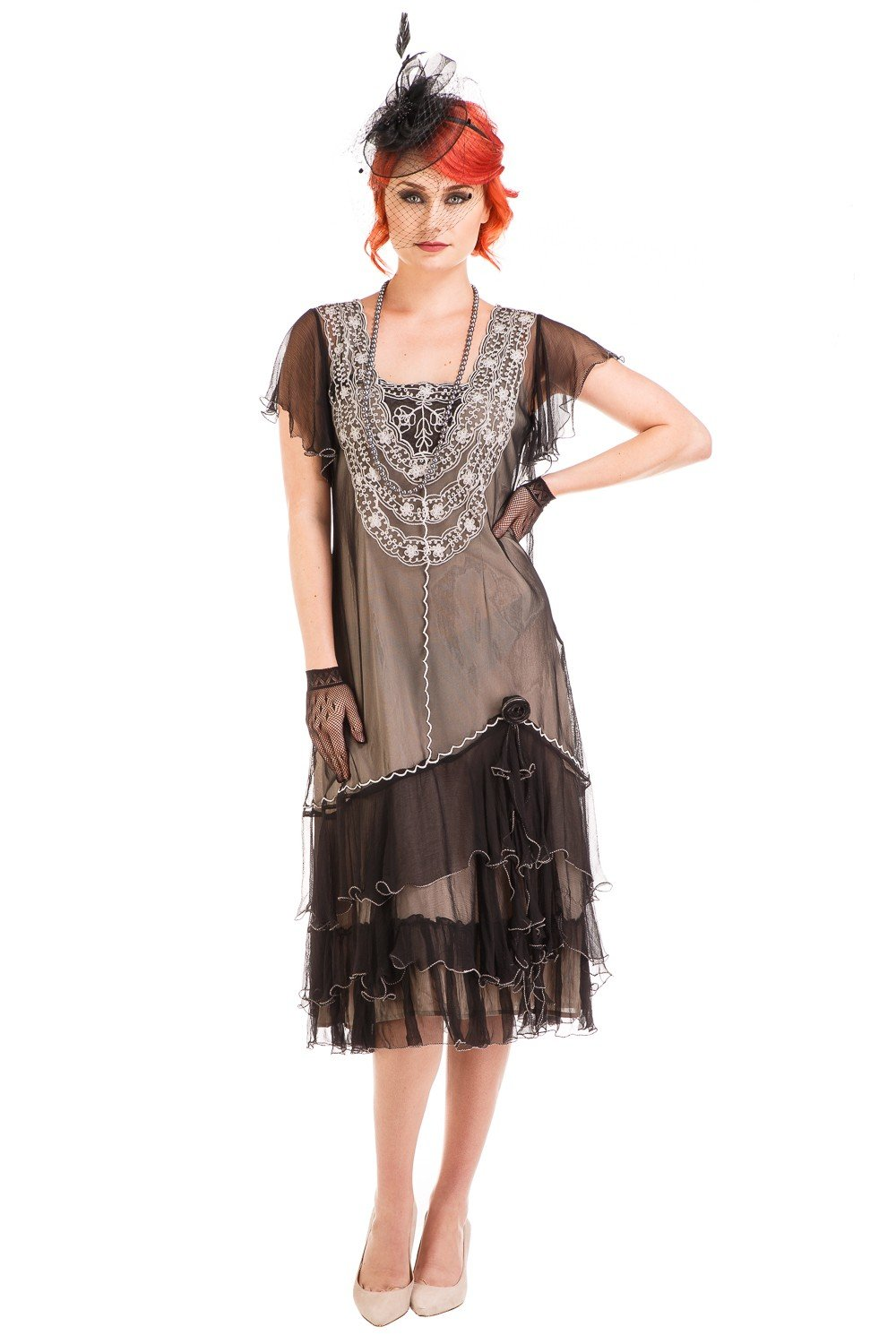 1920s Day Dresses, Tea Dresses, Mature Dresses with Sleeves Alexa 1920s Flapper Style Dress in Black-Silver by Nataya $250.00 AT vintagedancer.com