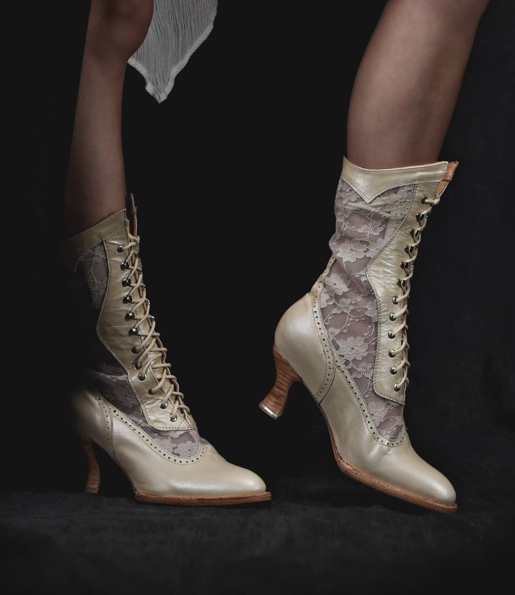 Vintage Wedding Shoes, Flats, Boots, Heels Victorian Inspired Leather  Lace Boots in Pearl $265.00 AT vintagedancer.com