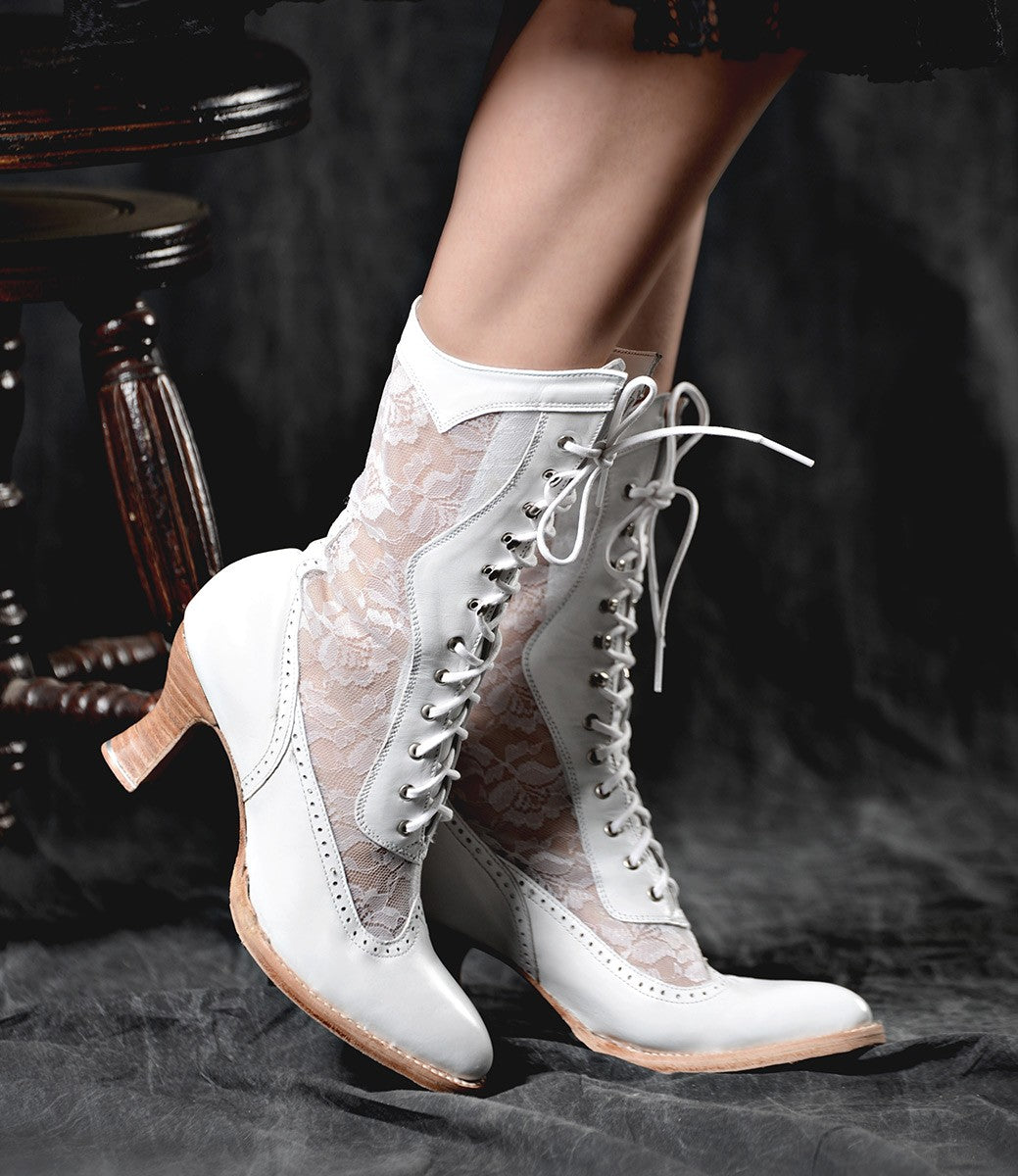 History of Victorian Boots & Shoes for Women Victorian Inspired Leather  Lace Boots in White $265.00 AT vintagedancer.com