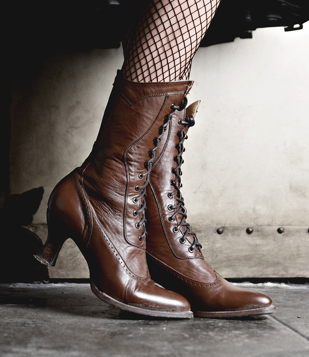 1900 -1910s Edwardian Fashion, Clothing & Costumes Modern Victorian Lace Up Leather Boots in Cognac $285.00 AT vintagedancer.com