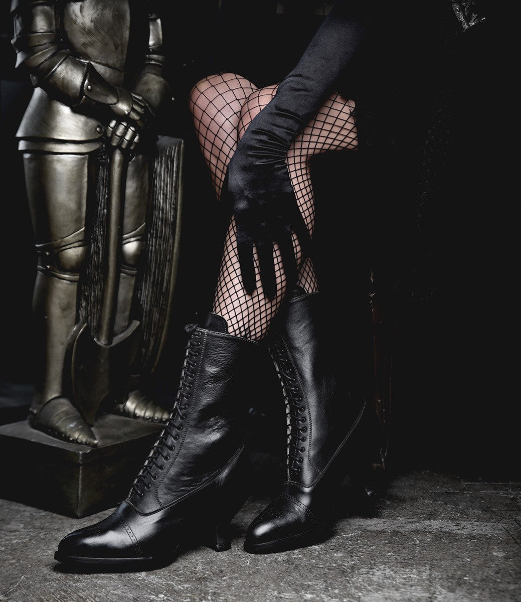 Victorian Boots & Shoes – Granny Boots & Shoes Victorian Mid-Calf Leather Boots in Black Rustic $265.00 AT vintagedancer.com