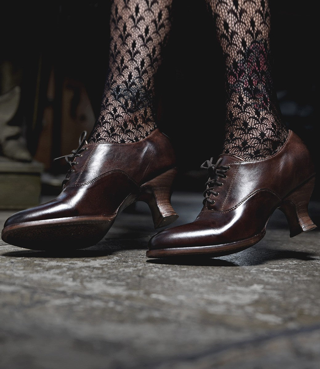Edwardian Shoes & Boots | Titanic Shoes Victorian Style Leather Lace-Up Shoes in Teak Rustic $195.00 AT vintagedancer.com