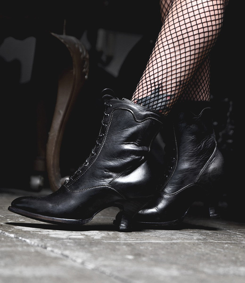 Edwardian Shoes & Boots | Titanic Shoes Victorian Style Leather Ankle Boots in Black Rustic $235.00 AT vintagedancer.com