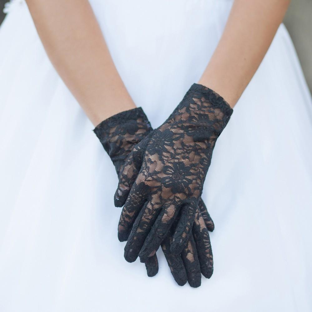 Vintage Style Gloves- Long, Wrist, Evening, Day, Leather, Lace Graceful in Lace Lady Mary Gloves in Black $24.00 AT vintagedancer.com