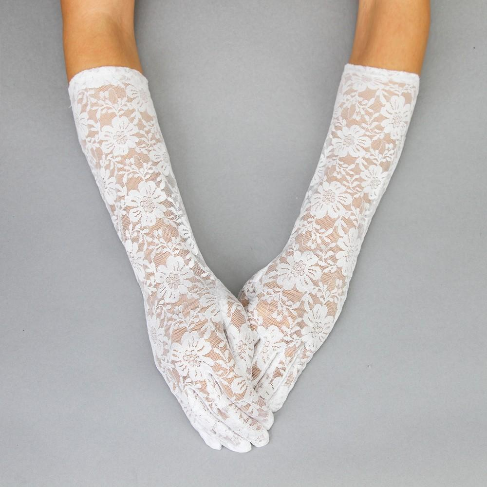 1950s Accessories | 50s Scarf, Belt, Parasol, Umbrella Sophisticated in Lace Vintage Gloves in White $28.00 AT vintagedancer.com