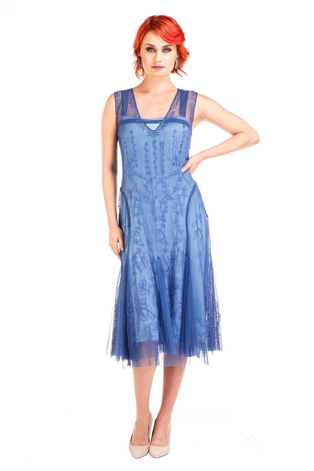 1920s Style Dresses, 20s Dresses Jackie 1920s Flapper Style Dress in Periwinkle by Nataya $208.00 AT vintagedancer.com