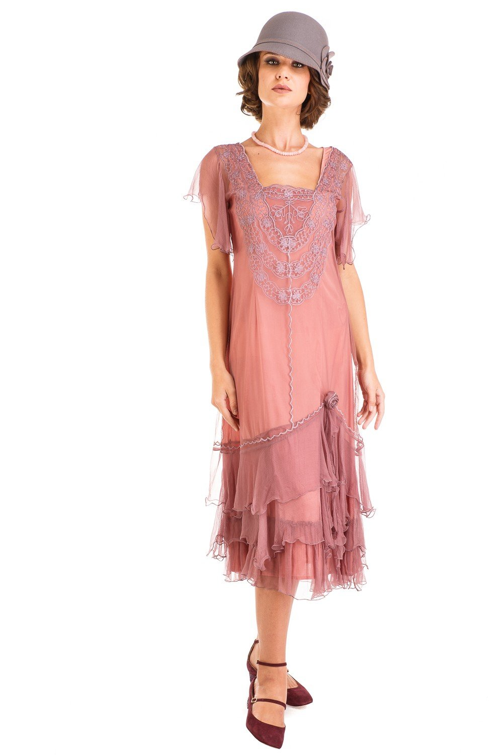1920s Fashion & Clothing | Roaring 20s Attire Alexa 1920s Flapper Style Dress in Mauve by Nataya $250.00 AT vintagedancer.com