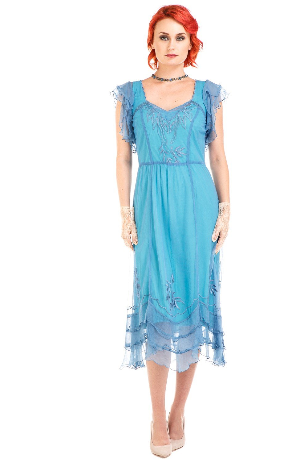 1920s Style Dresses, 20s Dresses Olivia 1920s Flapper Style Dress in Turquoise by Nataya $254.00 AT vintagedancer.com