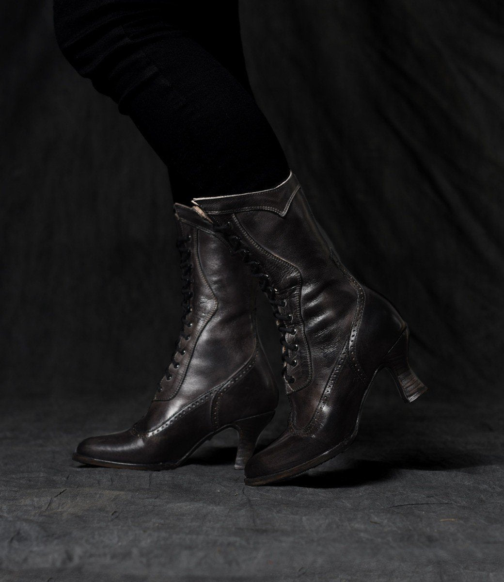 Edwardian Shoes & Boots | Titanic Shoes Modern Victorian Lace Up Leather Boots in Black $255.00 AT vintagedancer.com