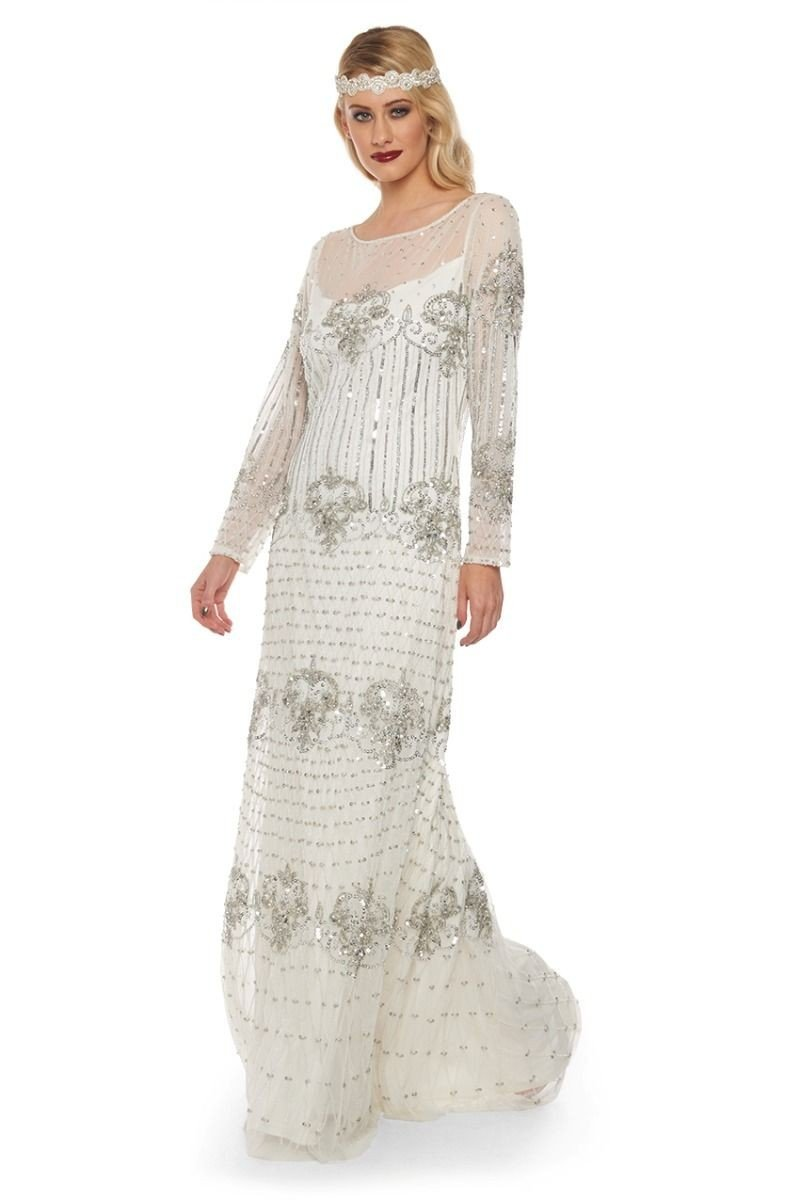 1920s Wedding Dresses- Art Deco Wedding Dress, Gatsby Wedding Dress 1920s Inspired Evening Maxi Dress in White - SALE $187.50 AT vintagedancer.com