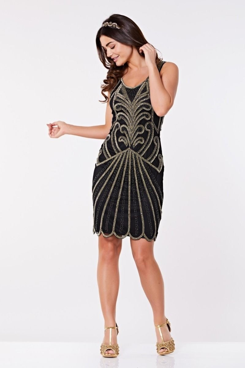 1920s Party Dresses, Great Gatsby Gowns, Prom Dresses Art Deco Cocktail Dress in Black Gold $135.00 AT vintagedancer.com