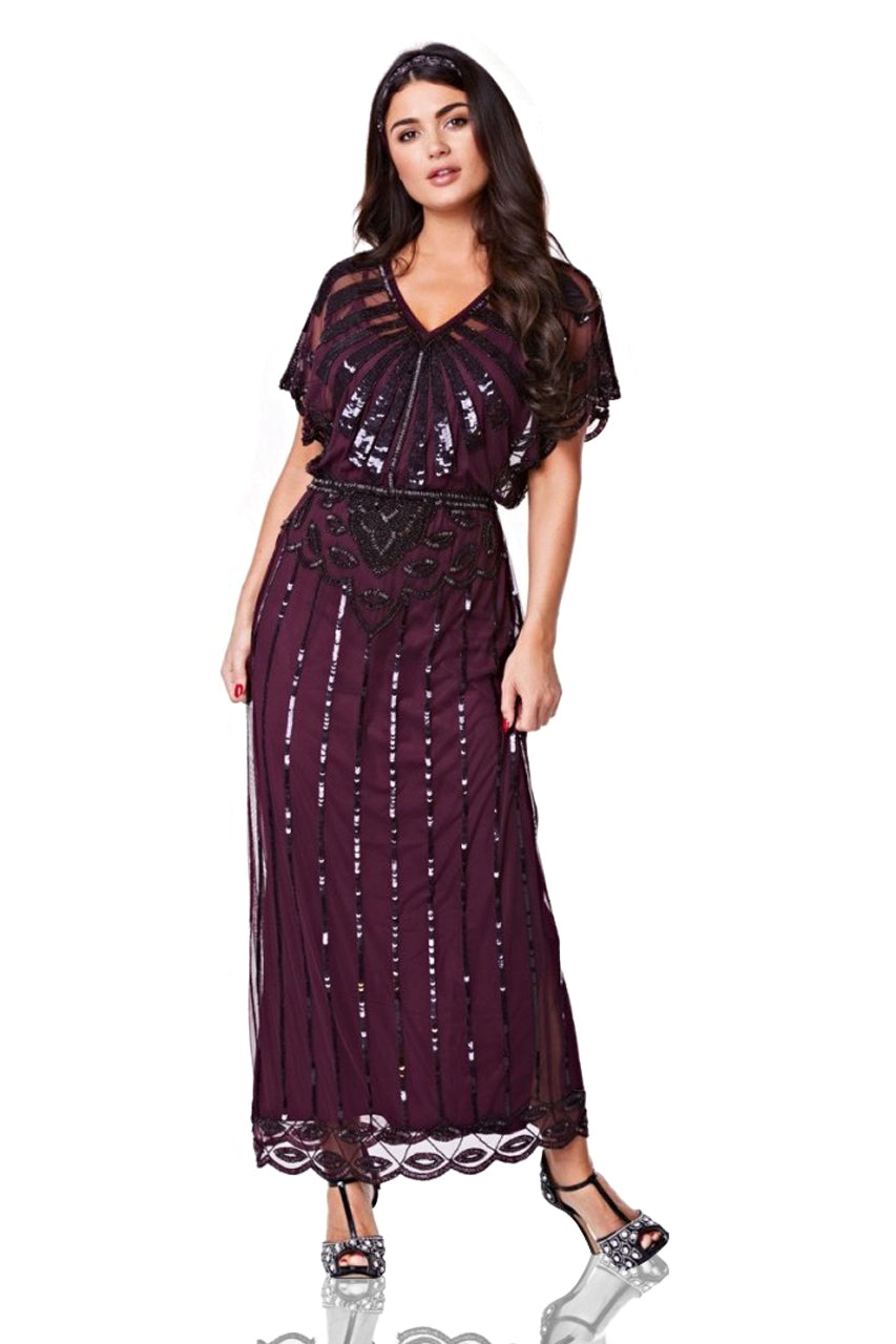 1920s Formal Dresses & Evening Gowns Guide Gatsby Style Maxi Dress in Plum $165.00 AT vintagedancer.com