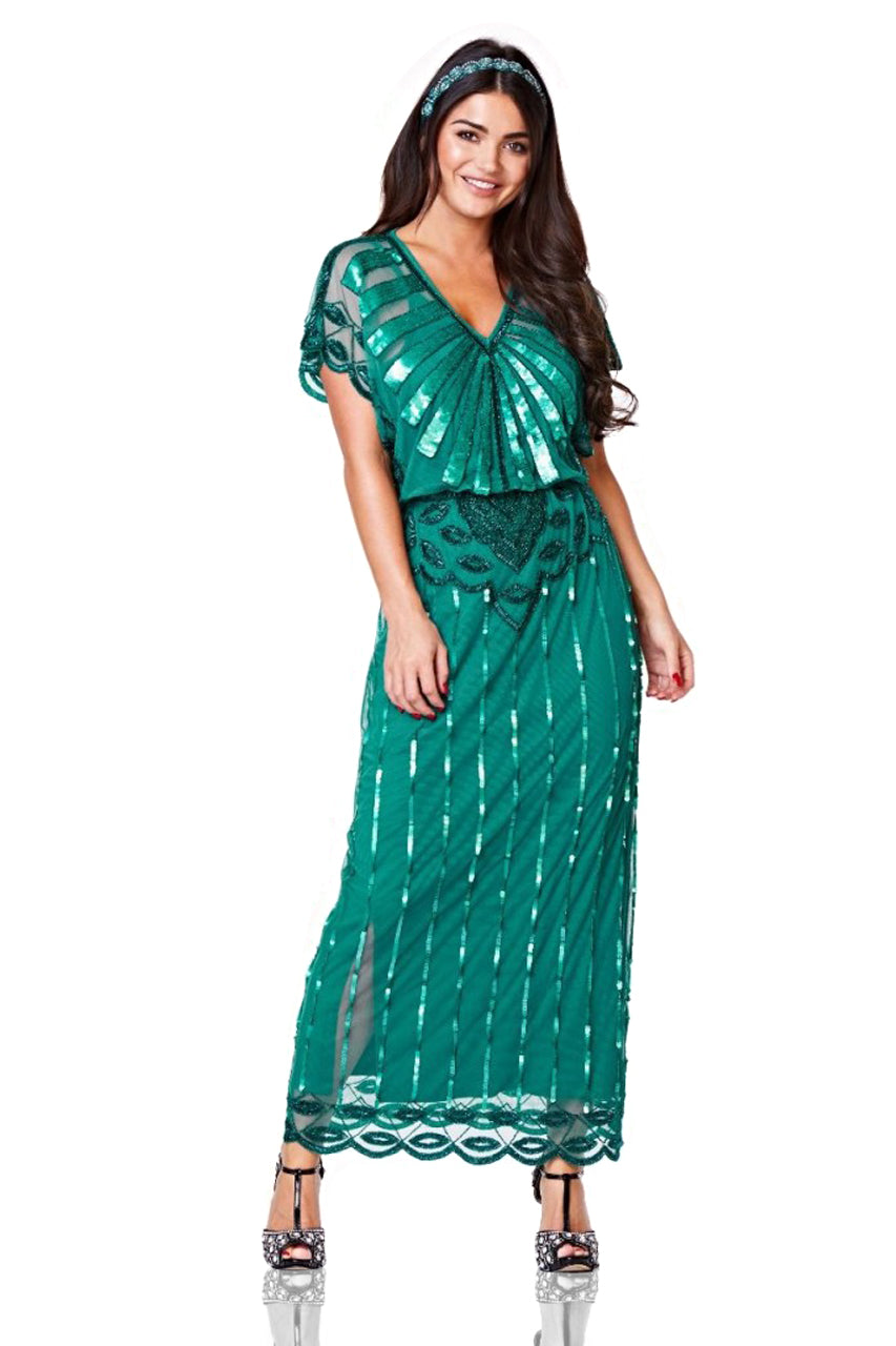 1920s Plus Size Flapper Dresses, Gatsby Dresses, Flapper Costumes Gatsby Style Maxi Dress in Teal $165.00 AT vintagedancer.com
