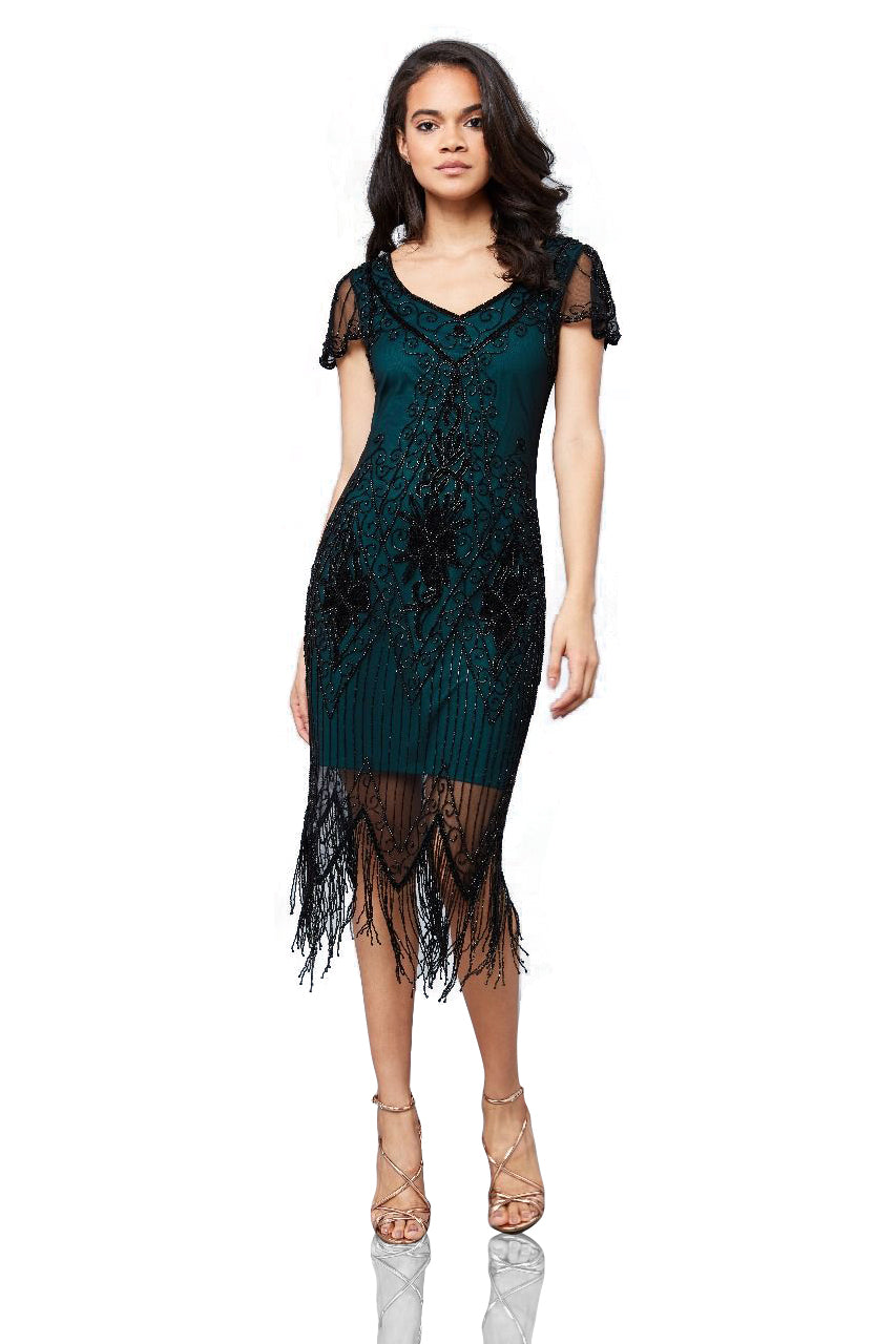 1920s Fashion & Clothing | Roaring 20s Attire Flapper Style Fringe Party Dress in Teal $145.00 AT vintagedancer.com