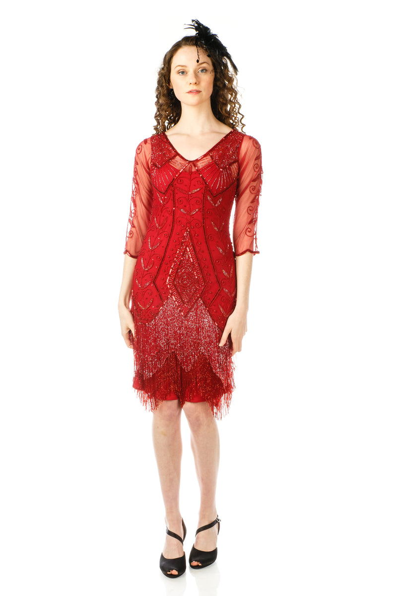 lady wearing 1920s Deco Fringe Party Dress in Red with black headband