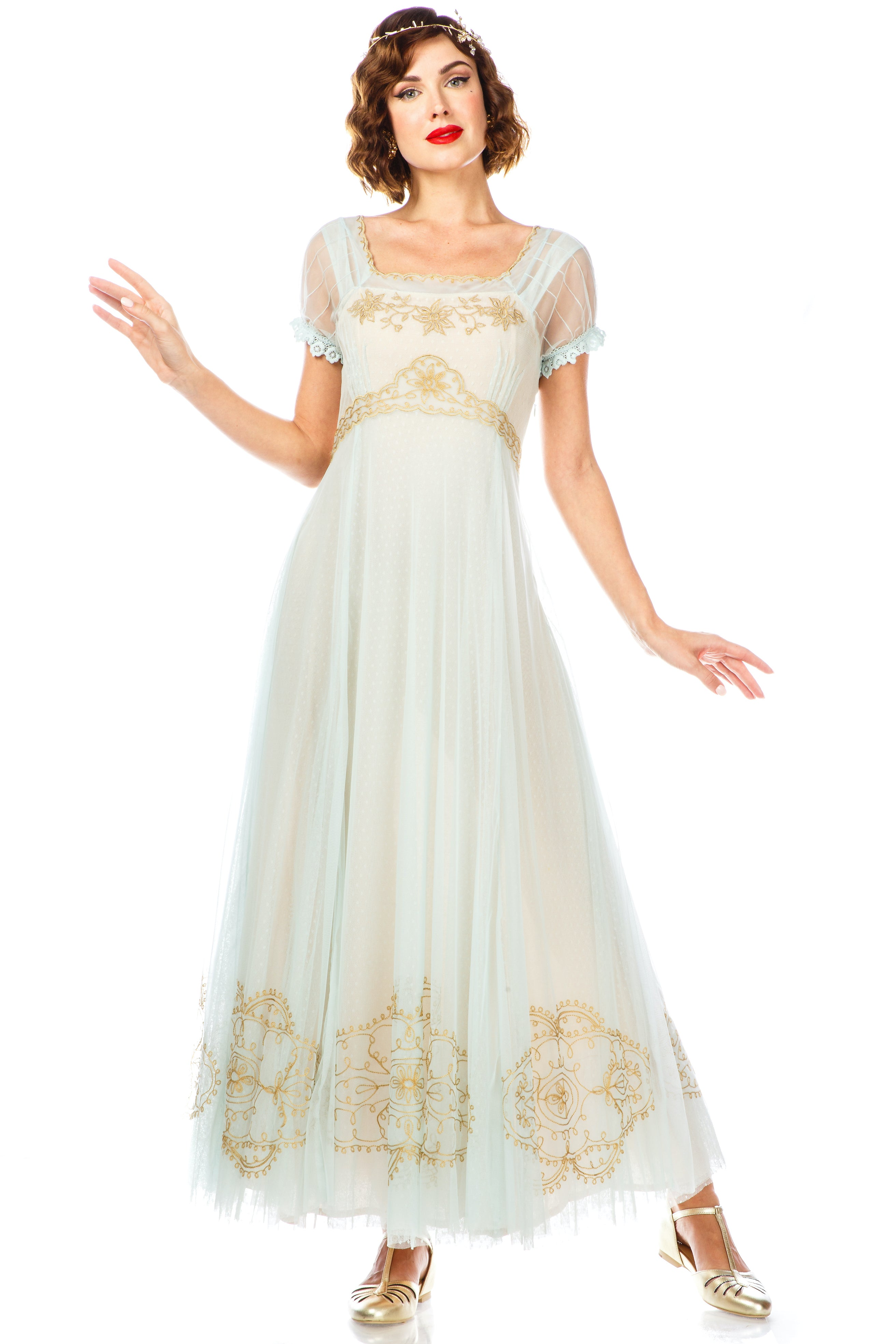 Edwardian Evening Gowns , Ballgowns, Formal Dresses PARISIENNE VINTAGE ELEGANCE WEDDING GOWN IN NUDE MINT $396.00 AT vintagedancer.com