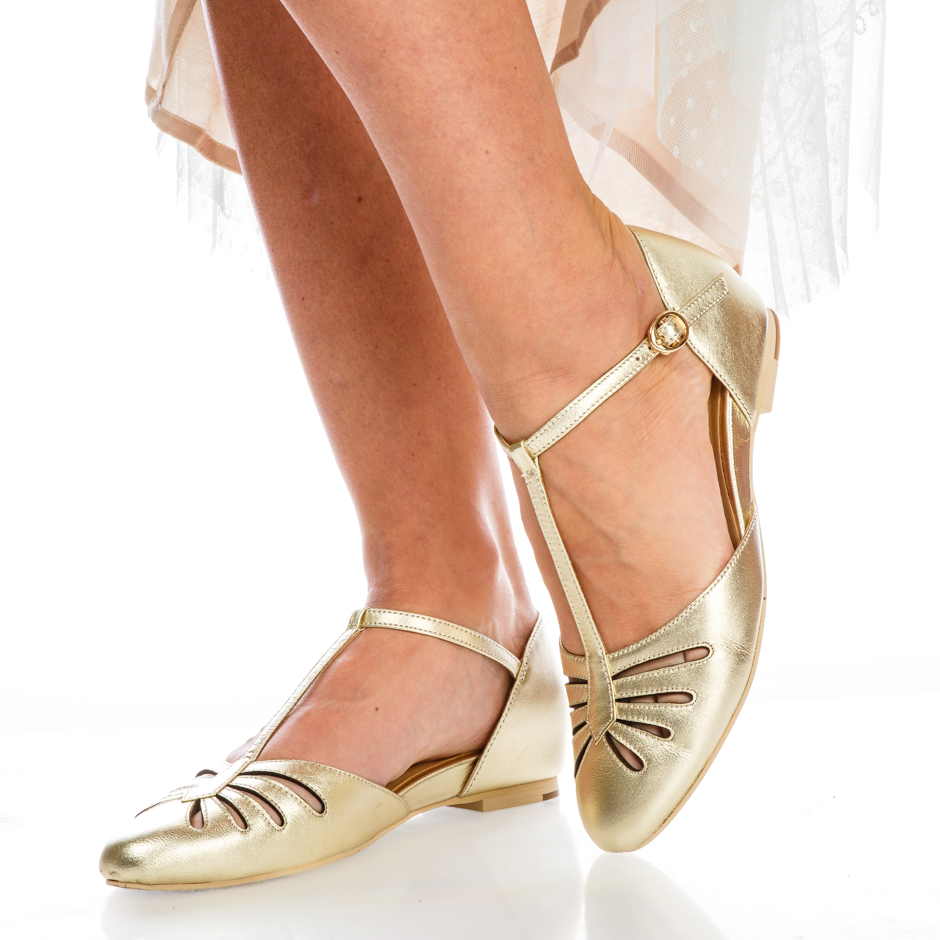 1930s Shoes – Art Deco Shoes, Heels, Boots, Sandals Singapore 1920s Style Flats in Gold $165.00 AT vintagedancer.com