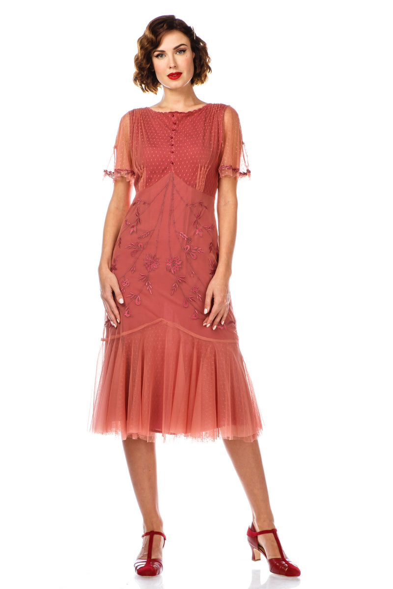 1920s Flapper Style Dress 40834 in Rose by Nataya
