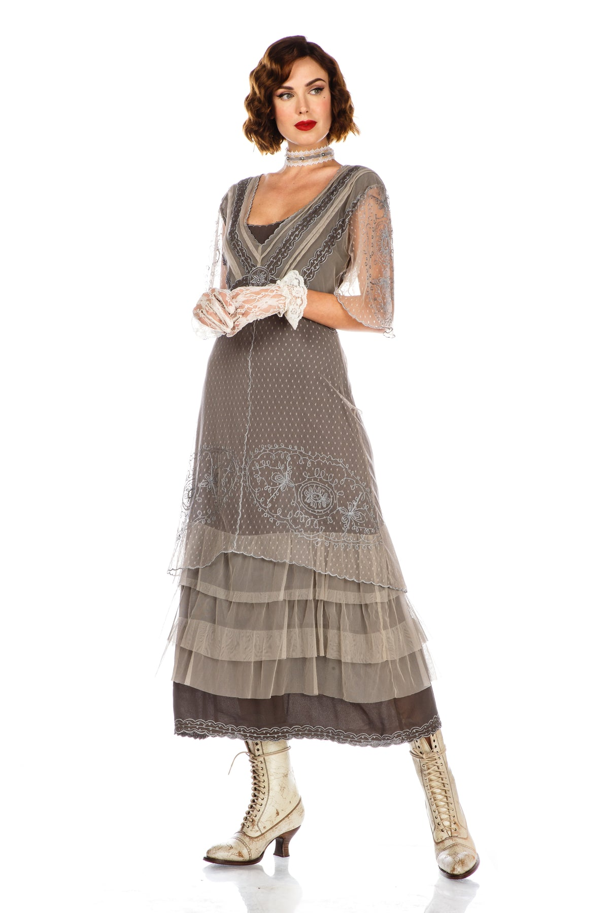 Cottagecore Dresses – Aesthetic, Granny, Vintage Sylvia 1920s Titanic Style Dress in Slate $250.00 AT vintagedancer.com