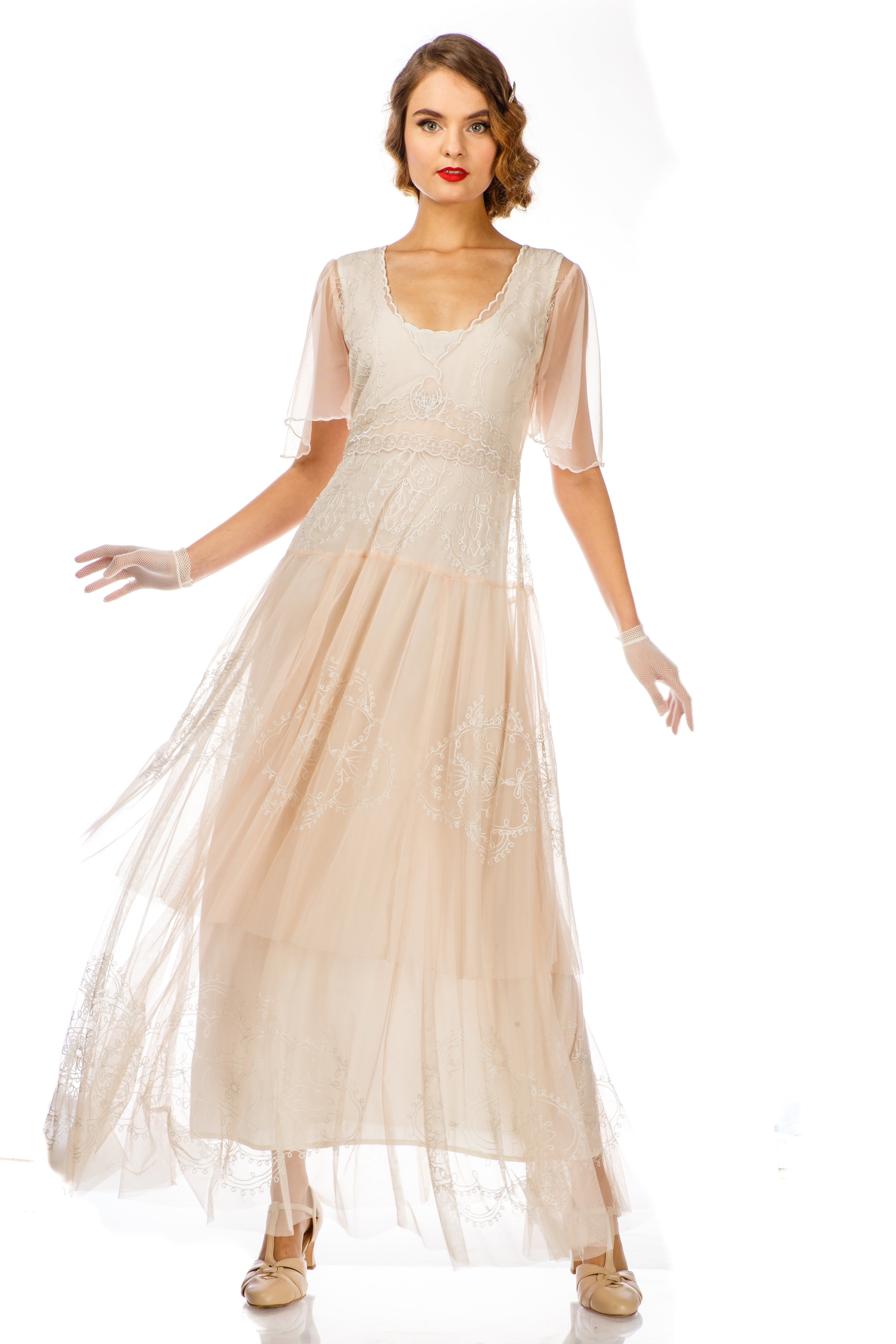1920s Outfit Ideas: 10 Downton Abbey Inspired Costumes Scarlett 1920s Style Wedding Dress in Peach Ivory by Nataya $280.00 AT vintagedancer.com