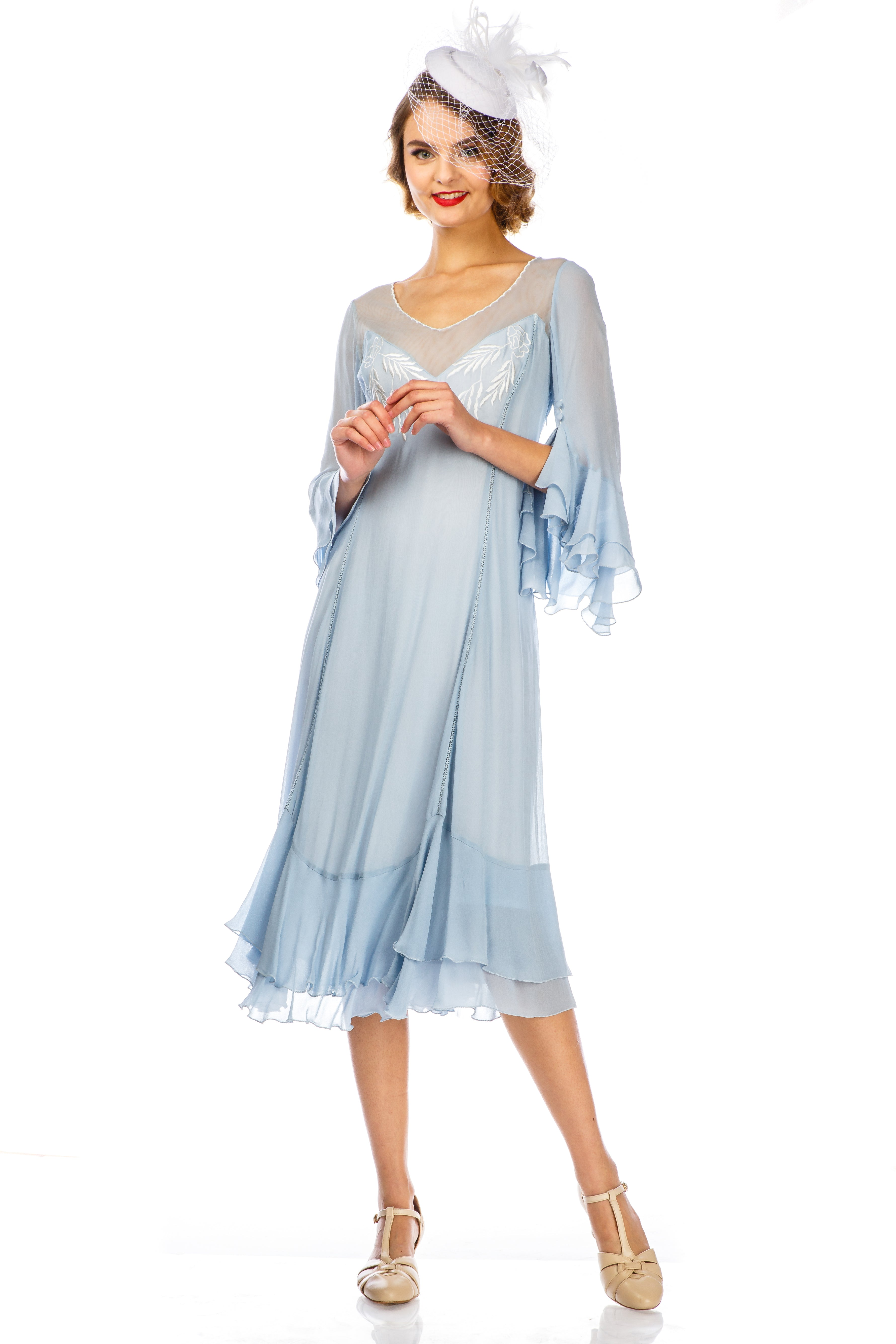 1920s Afternoon Dresses, White Tea Dresses Vintage Inspired Sky Blue Dress by Nataya $206.00 AT vintagedancer.com