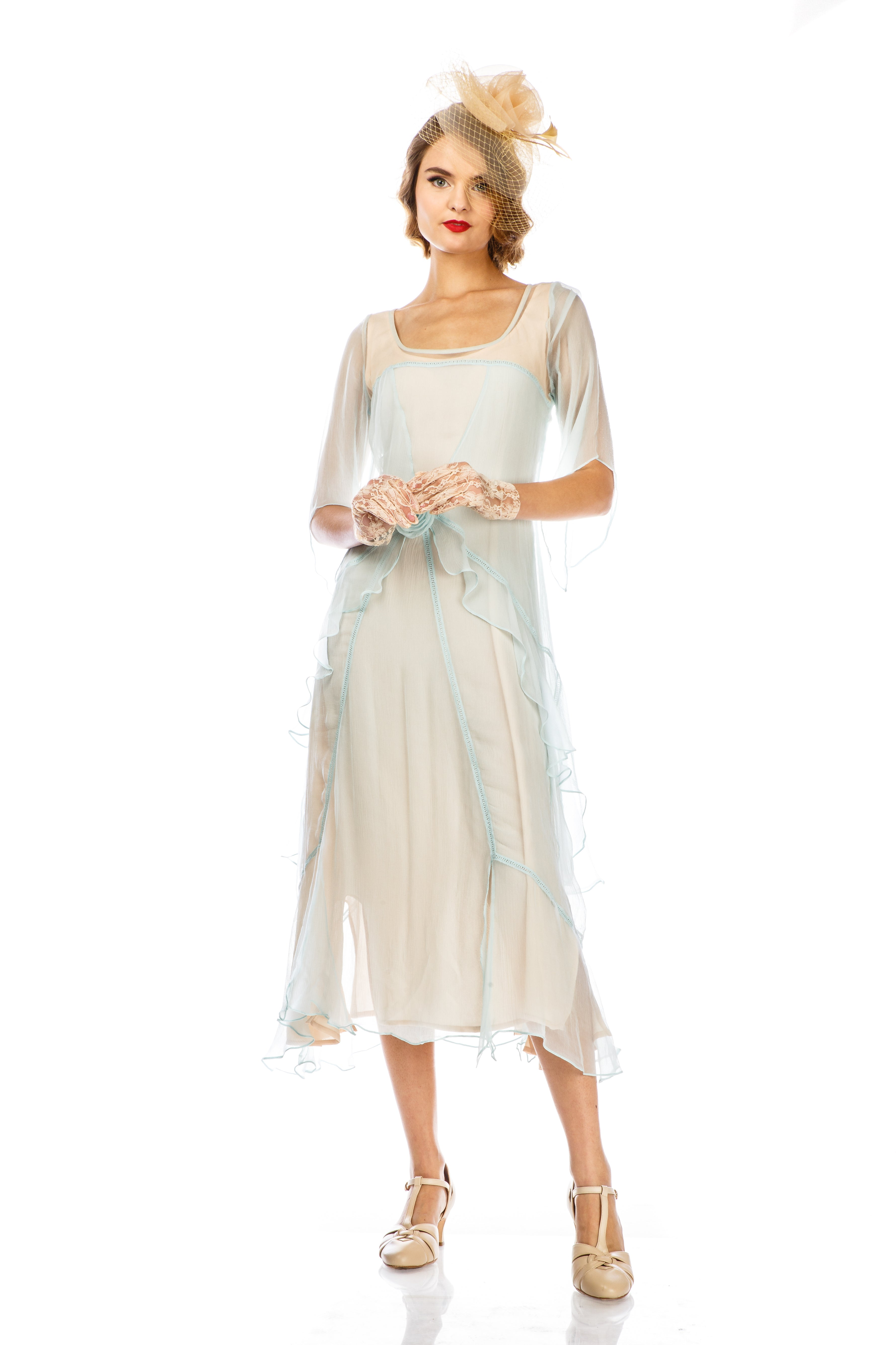 1920s Afternoon Dresses, White Tea Dresses Great Gatsby Party Dress in Nude Mint by Nataya $228.00 AT vintagedancer.com
