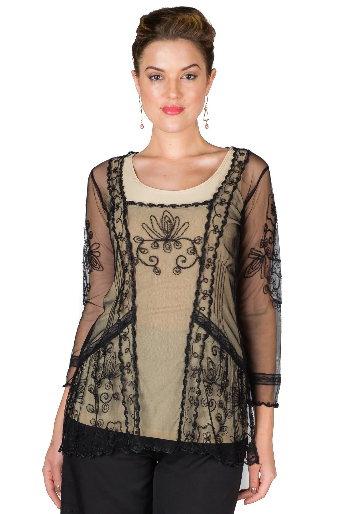 Edwardian Blouses |  Lace Blouses & Sweaters Vintage Inspired Art Nouveau Top in Black by Nataya $88.00 AT vintagedancer.com