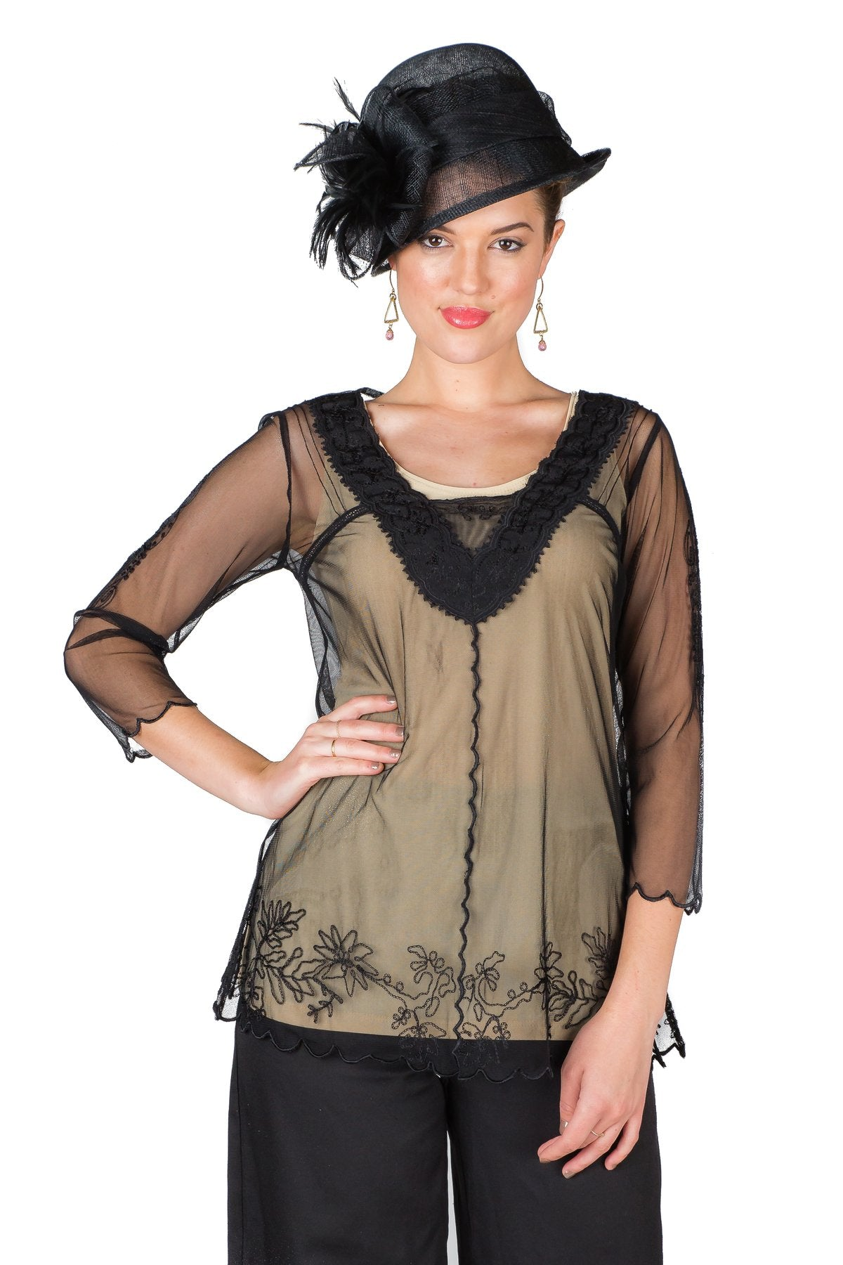 Edwardian Blouses |  Lace Blouses & Sweaters Victorian Vintage Inspired Top in Black by Nataya $88.00 AT vintagedancer.com