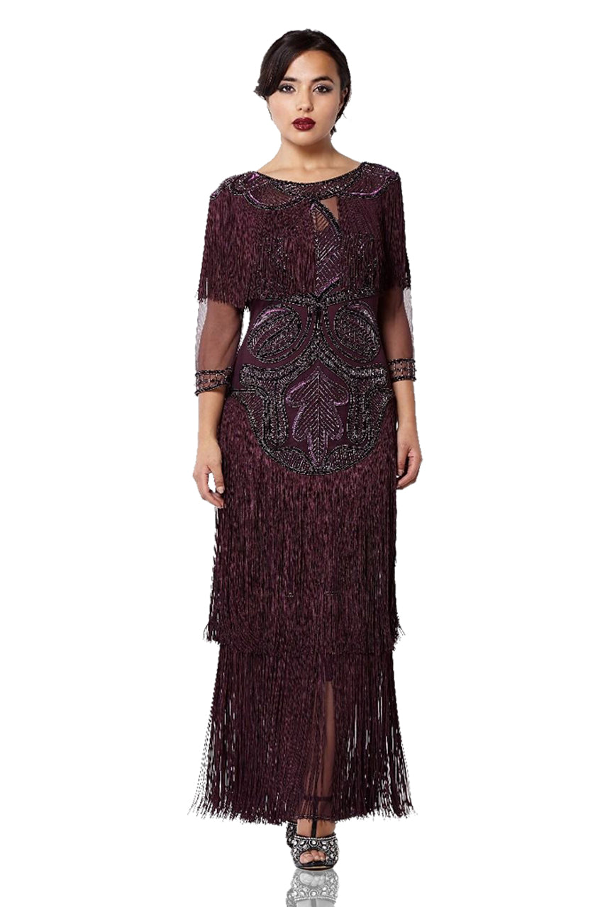 1920s Style Dresses, 20s Dresses 1920s Inspired Evening Maxi Dress in Plum $275.00 AT vintagedancer.com