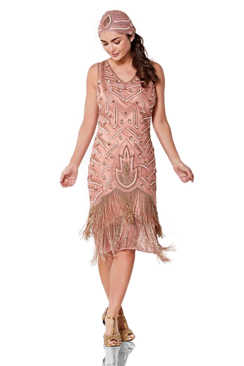 1920s Outfit Ideas: 10 Downton Abbey Inspired Costumes Old Hollywood Fringe Dress in Rose $170.00 AT vintagedancer.com