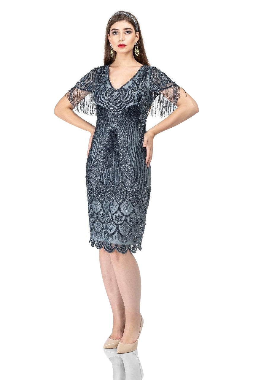 Roaring 20s Costumes- Flapper Costumes, Gangster Costumes Marta 1920s Flapper Style Dress in Grey $208.00 AT vintagedancer.com